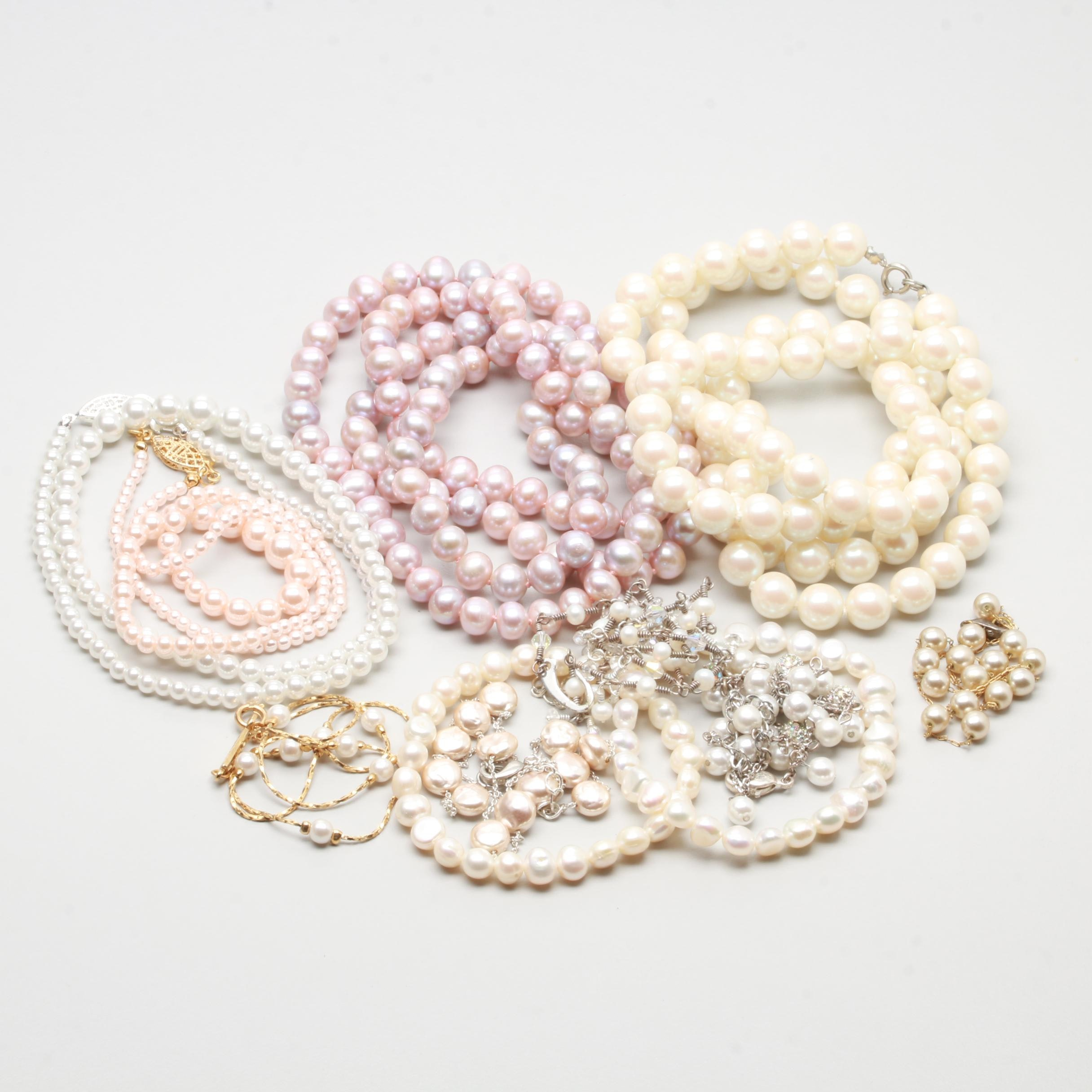 Silver and Gold Tone Jewelry Selection Including Cultured and Imitation Pearl