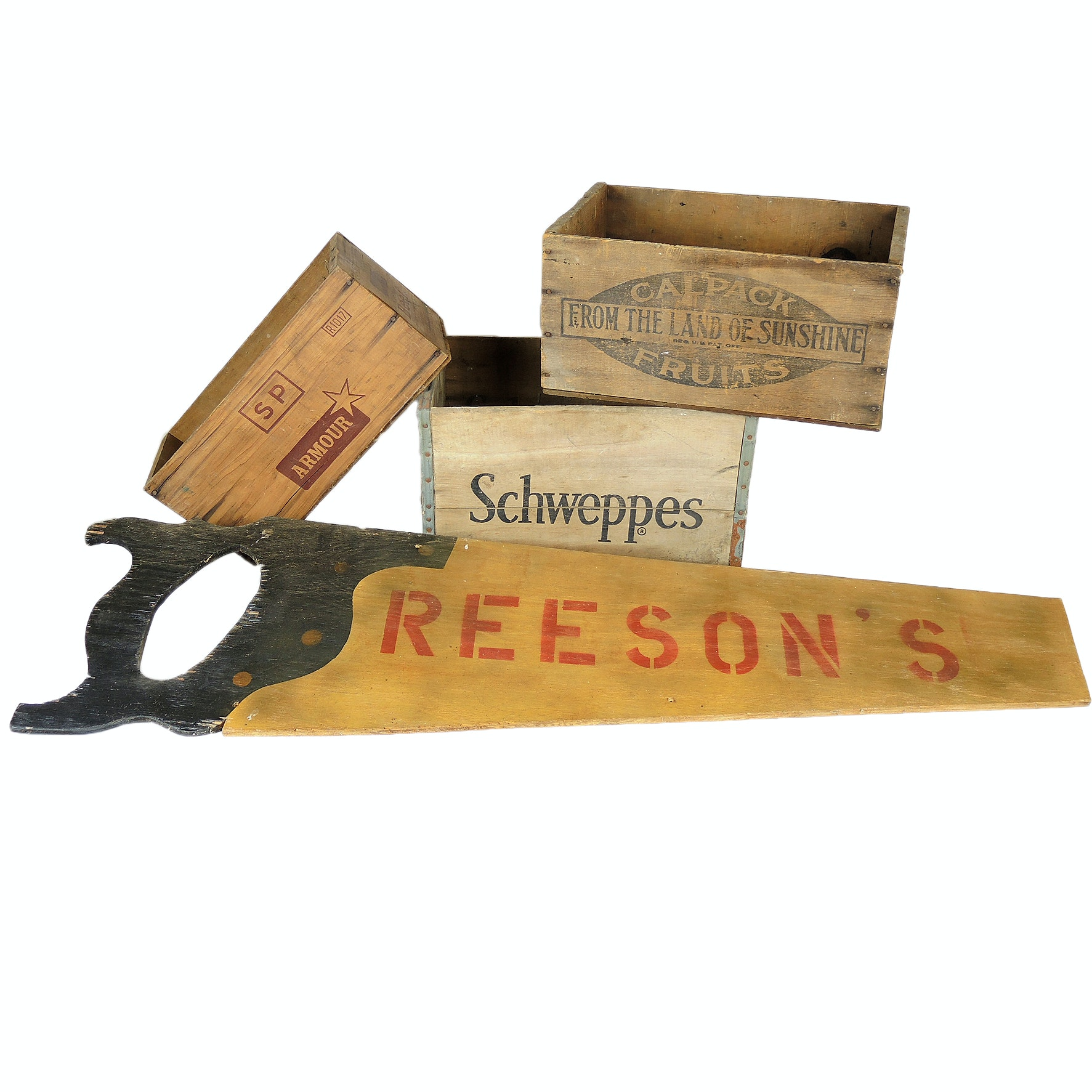 "Vintage Wooden Crates Featuring Schweppes and ""Reeson's"" Sign"