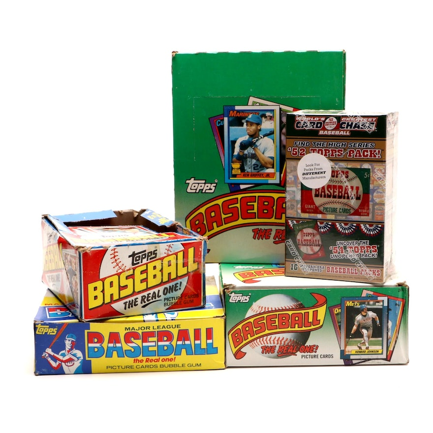 1982 1990 Unopen Cellophane And Wax Packs Vendor Boxes Of Topps Baseball Cards