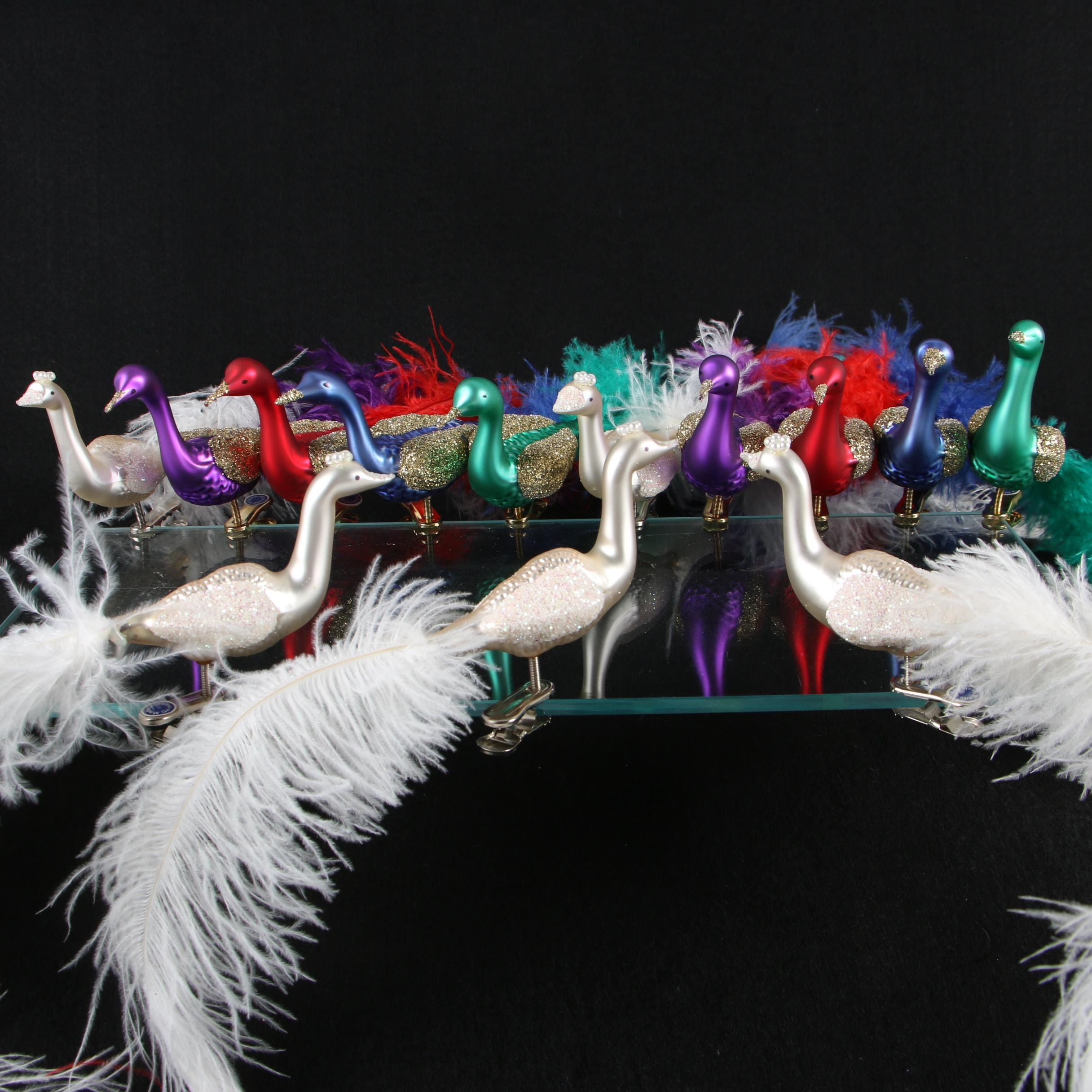 Feathered Glitter Peacock Clip Ornaments