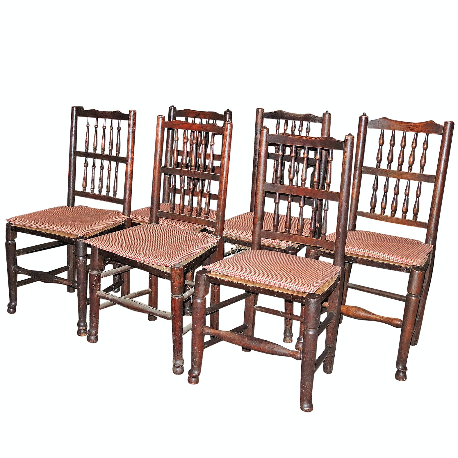 Six Queen Anne Elm Chairs, Early 19th Century