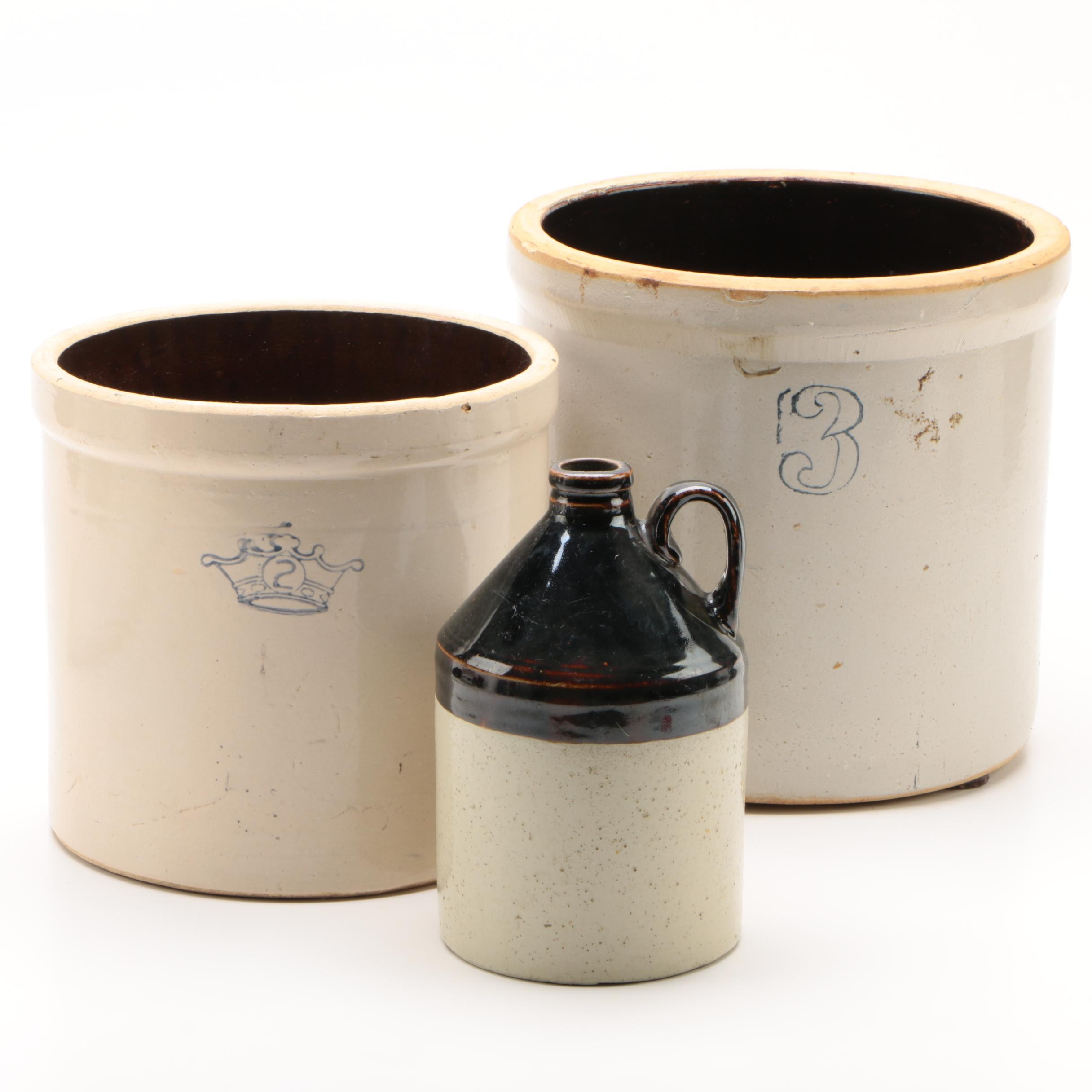 Robinson-Ransbottom Pottery Two-Gallon Stoneware Crock with Crock and Jug