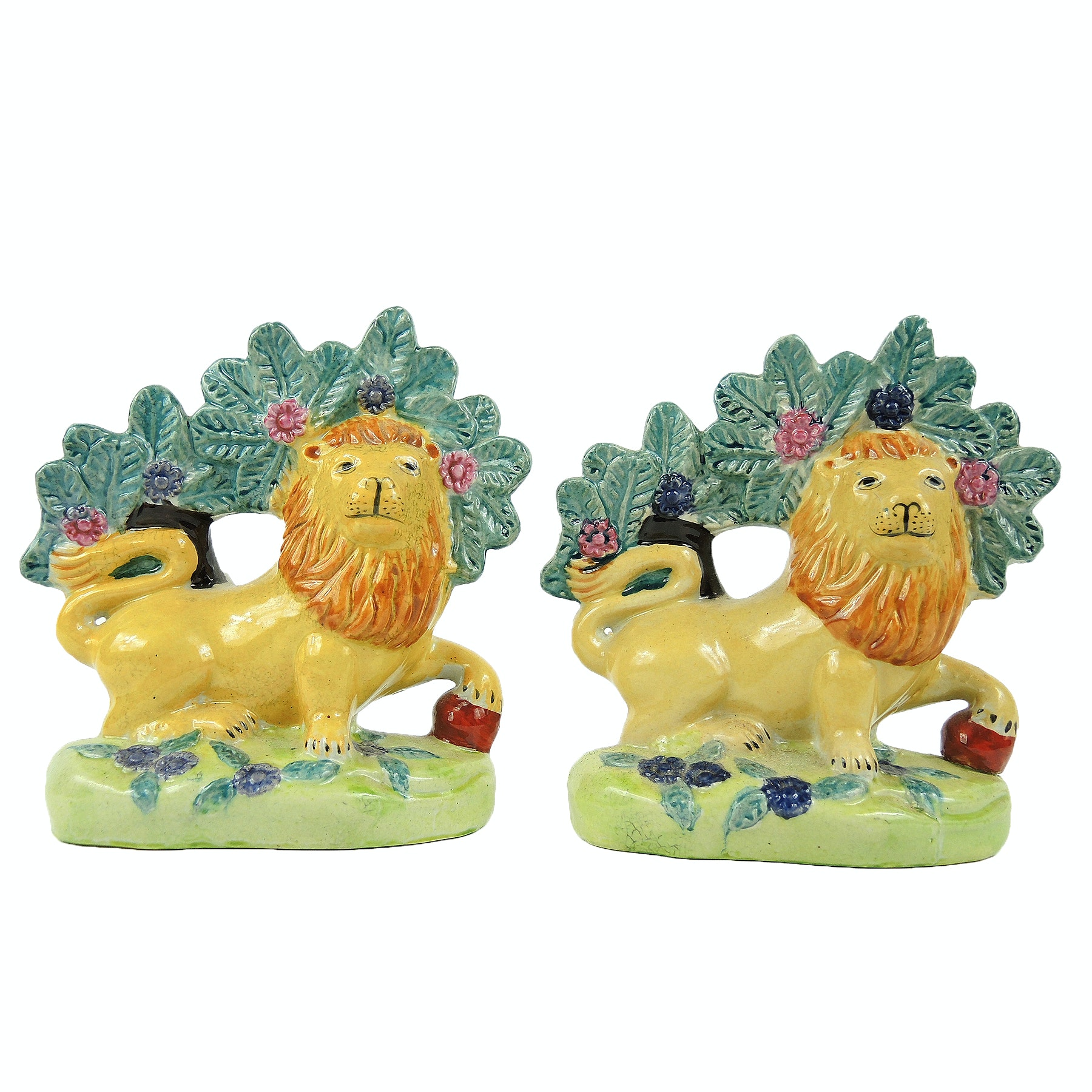Staffordshire Pottery Figures of Lions, 20th Century