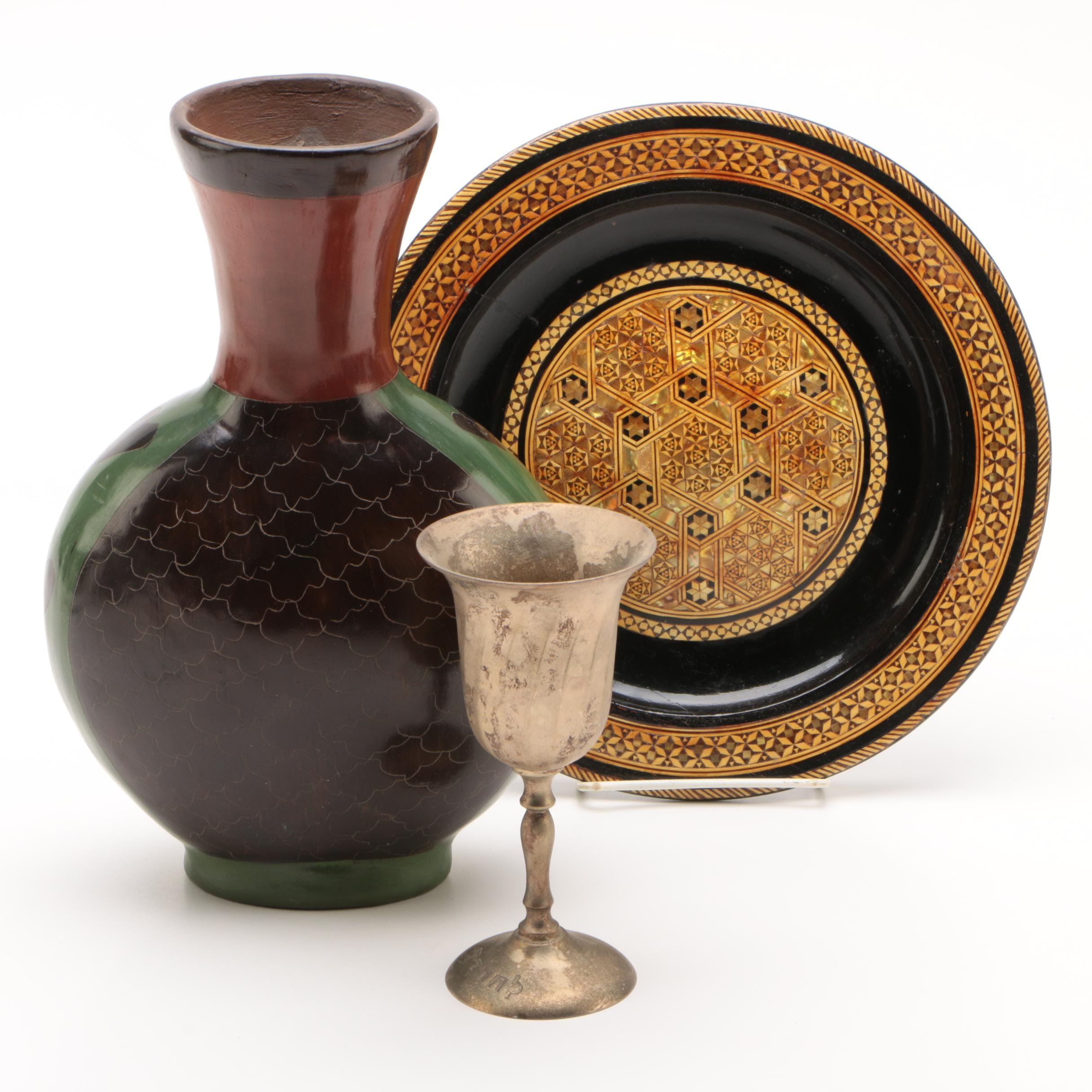 Decorative Wood Plate with Vase and Goblet