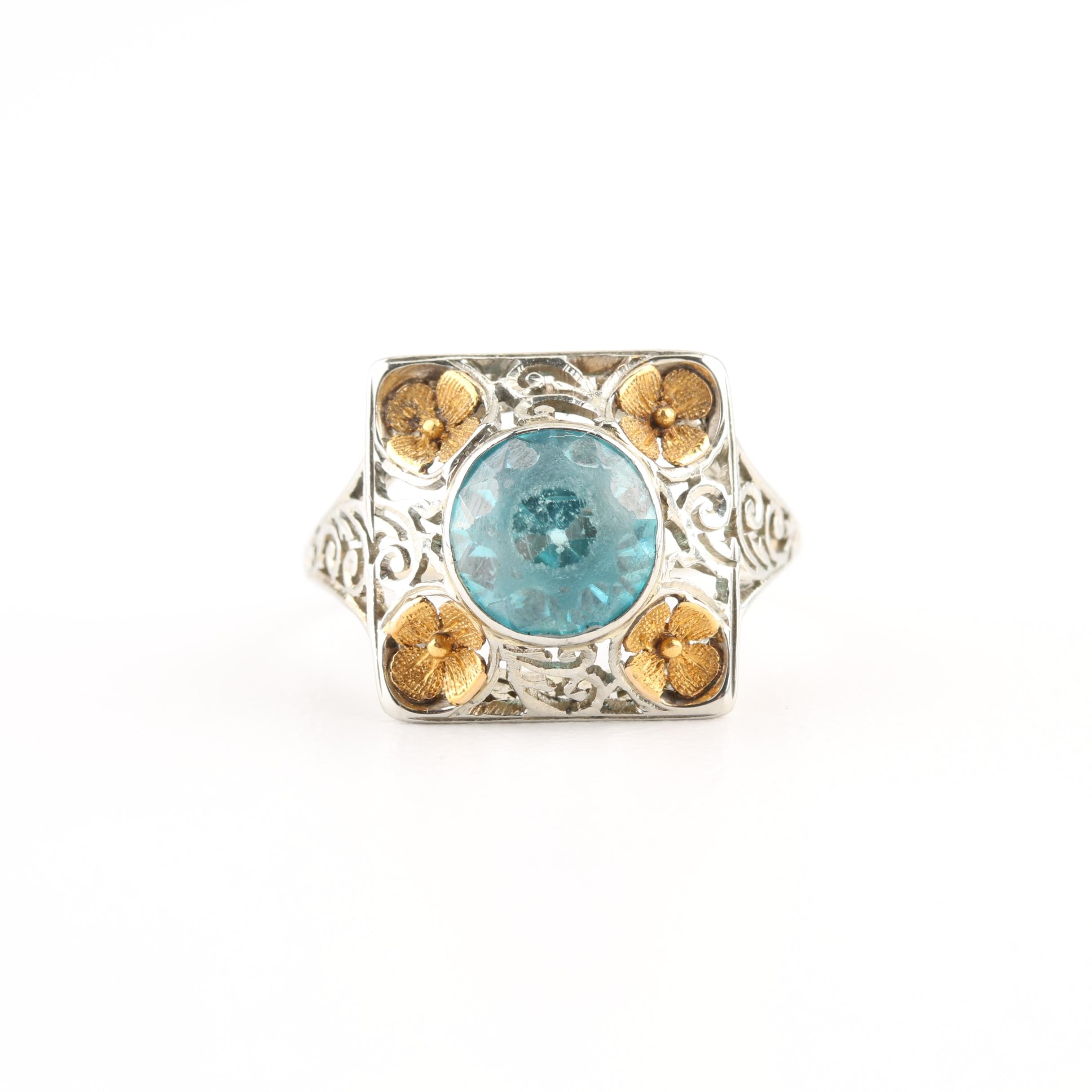 18K White Gold Blue Zircon Ring with Yellow Gold Floral Motif Accents