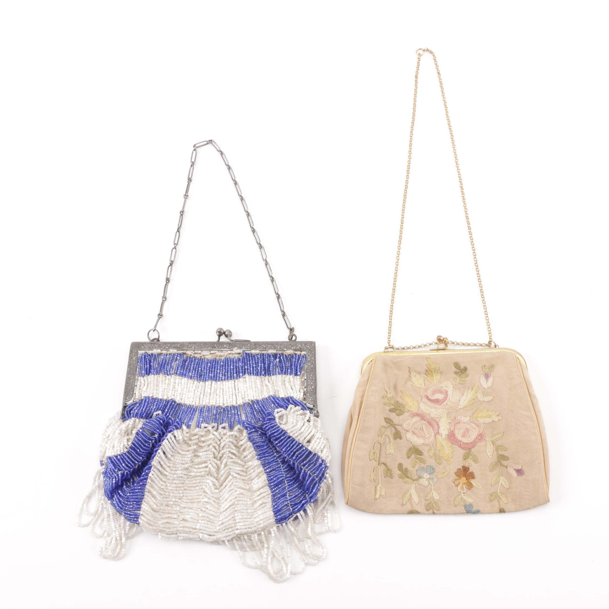 Early 20th Century Beaded and Floral Chain Stitch Handmade Handbags