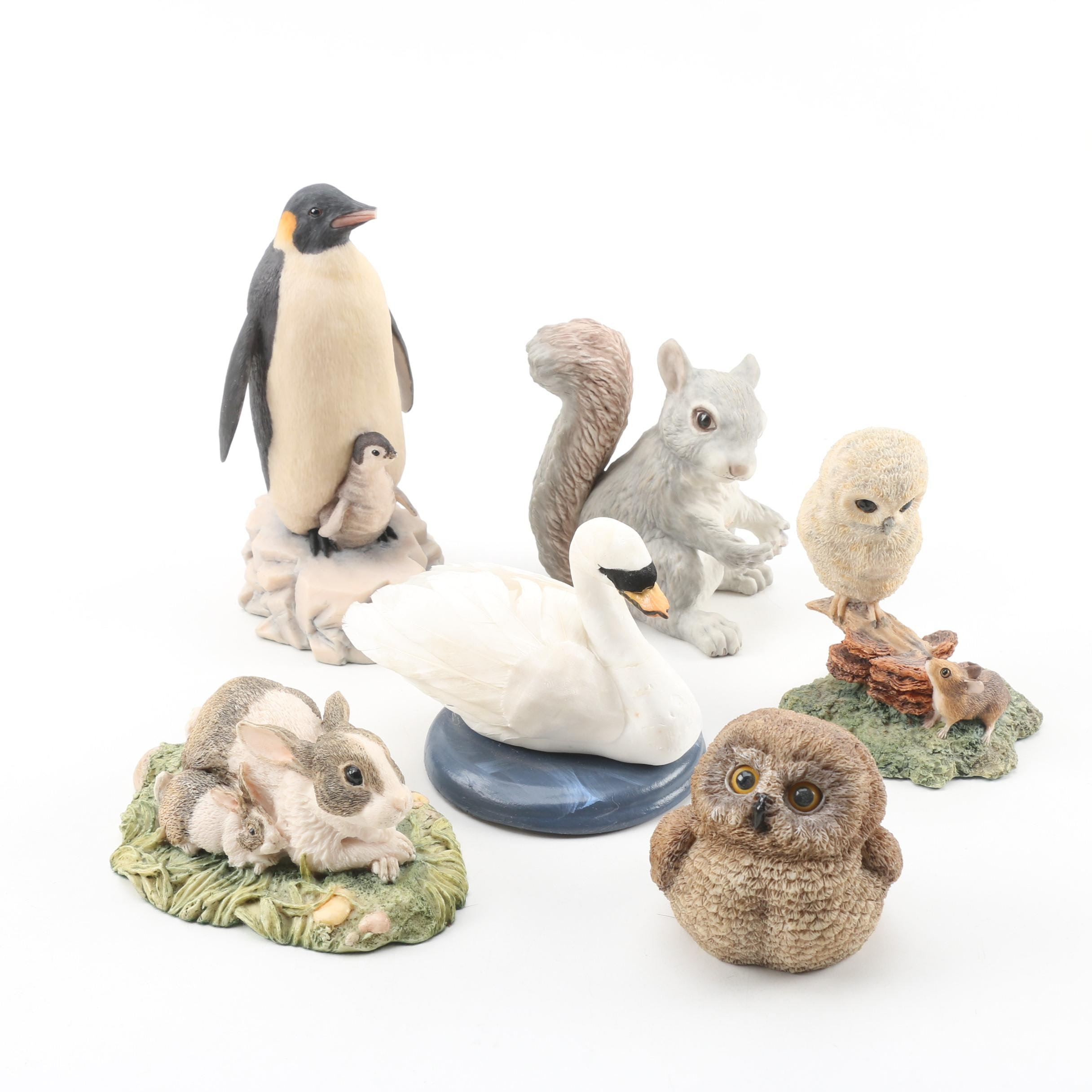 Resin and Ceramic Animal Figurines including Boehm and Byers' Choice