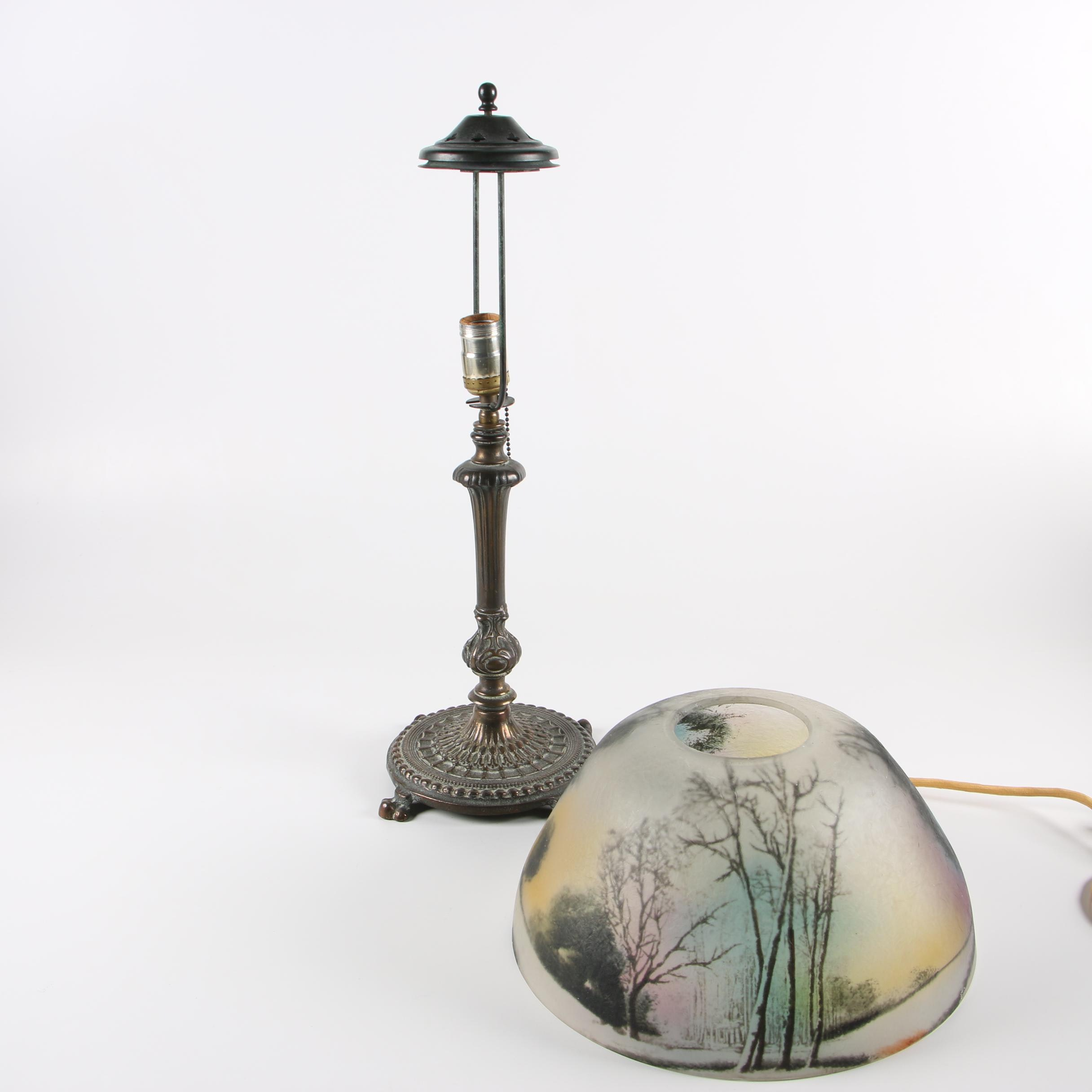 Reverse Painted Cast Metal Candle Stand Table Lamp, Early 20th Century