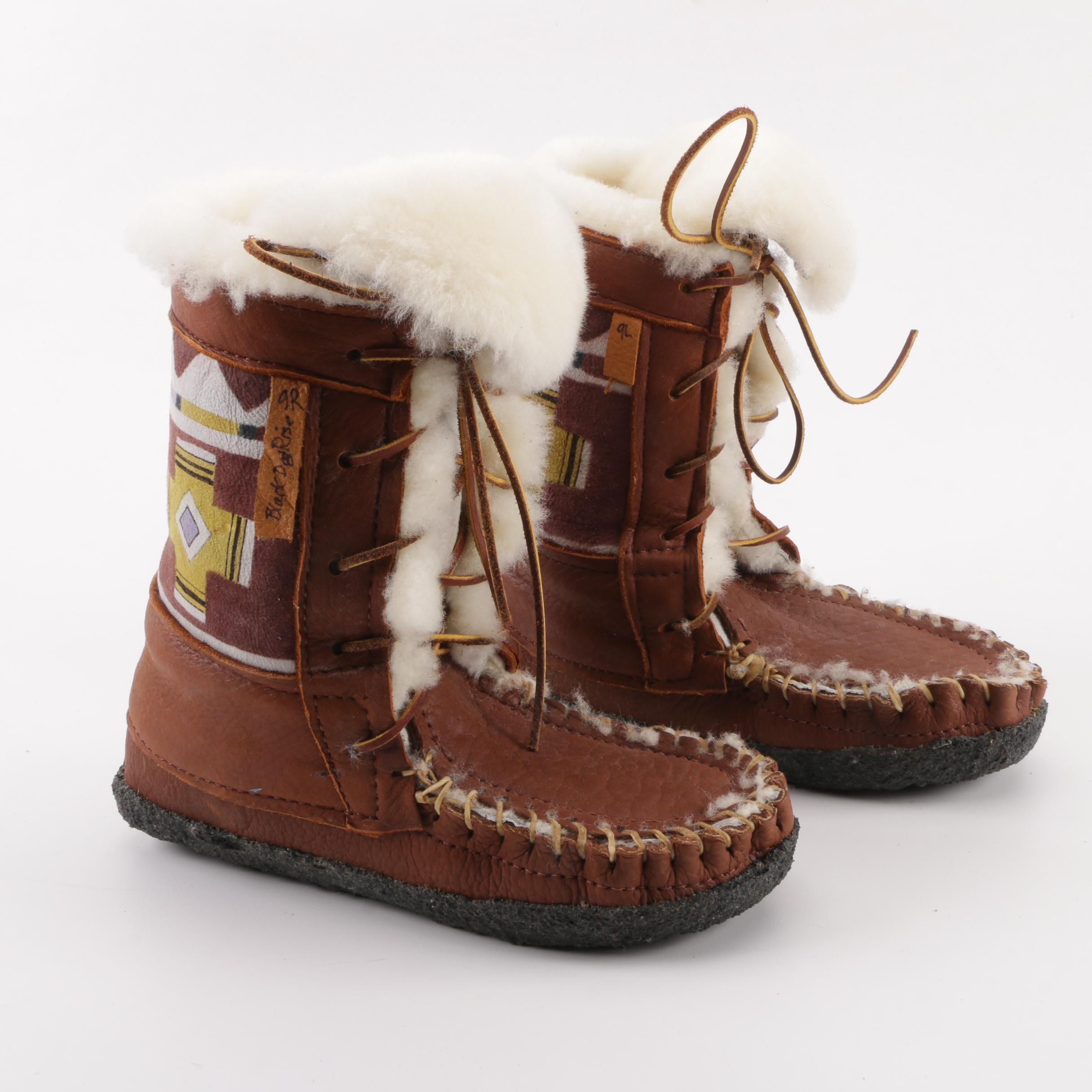 Black Dog Rise Handmade and Hand-Painted Wearable Art Mukluk Style Boots