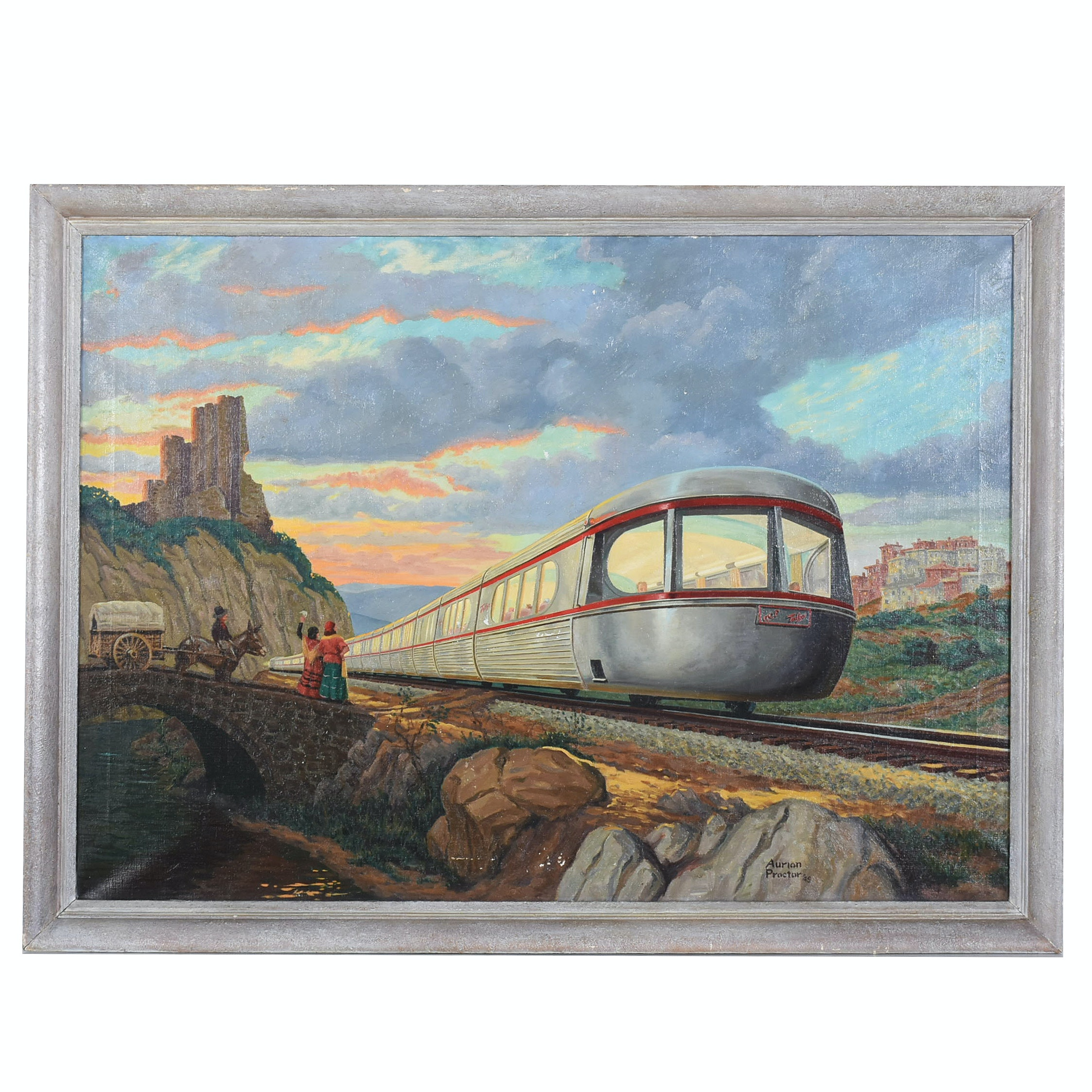 Aurion Proctor 1949 Oil Painting of the Talgo Train
