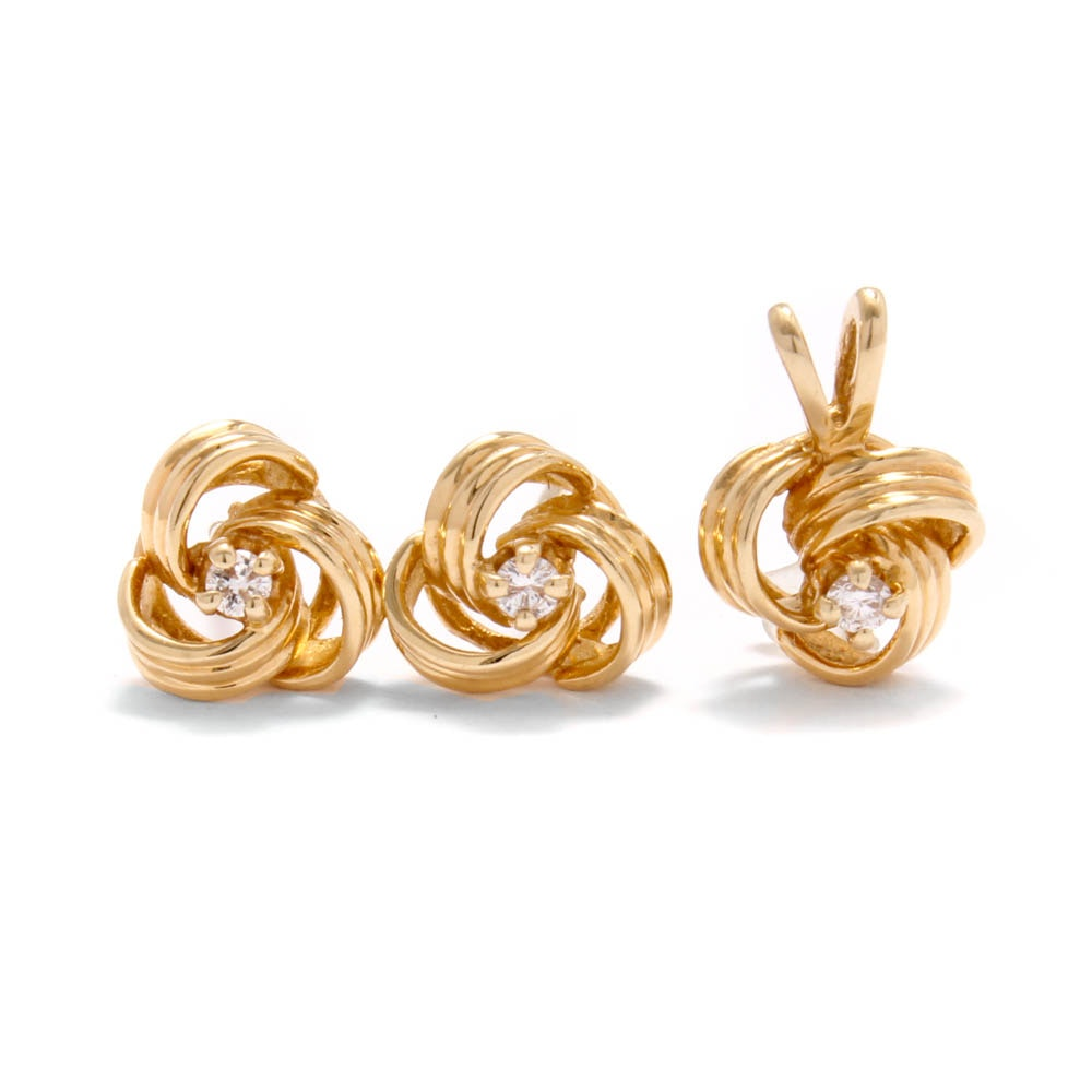 14K Yellow Gold Diamond Knot Earrings and Pendant