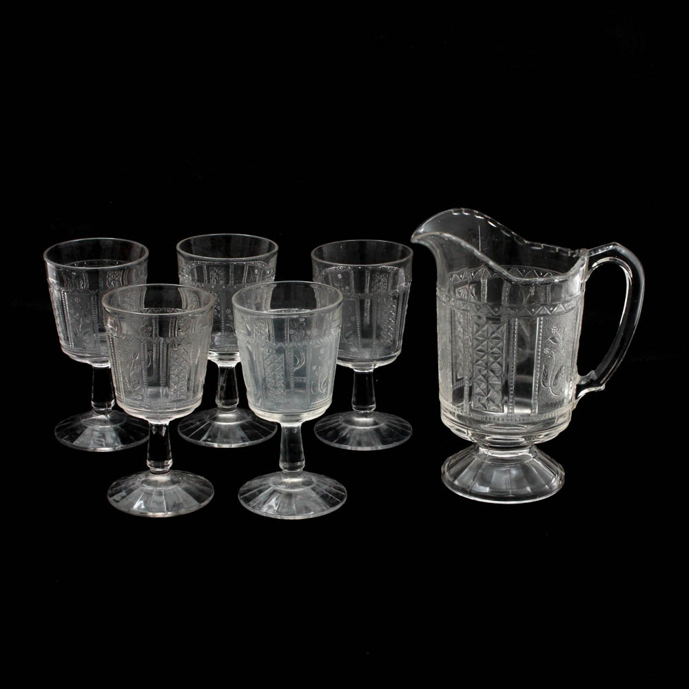 """Bryce Brothers """"Forget Me Nots"""" Early American Pattern Glass Pitcher and Goblets"""