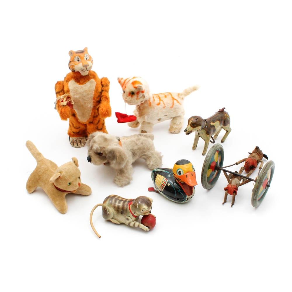 Vintage Mechanical Toys Including Marx, Schuco