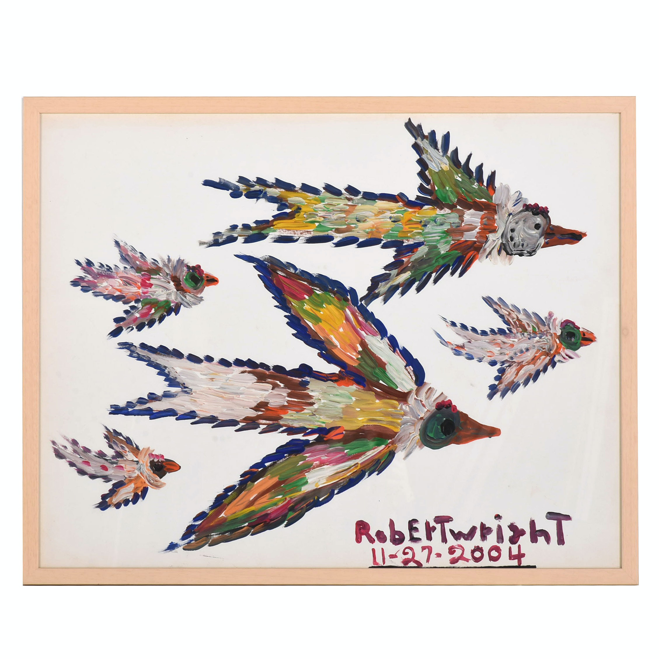 Robert Wright 2004 Acrylic Painting on Paper of Stylized Birds