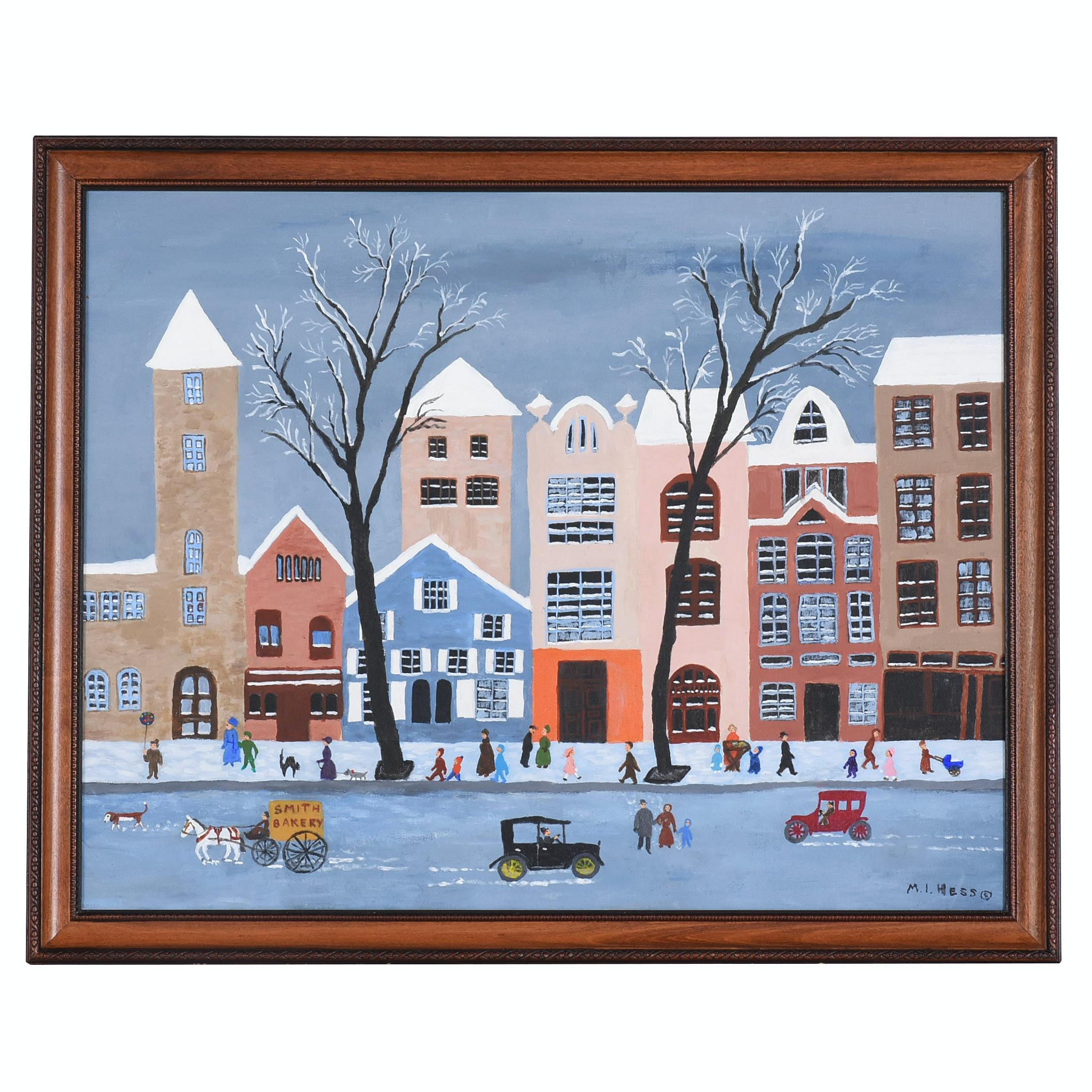 "Inez Hess Acrylic Folk Painting ""Snow in the City"""