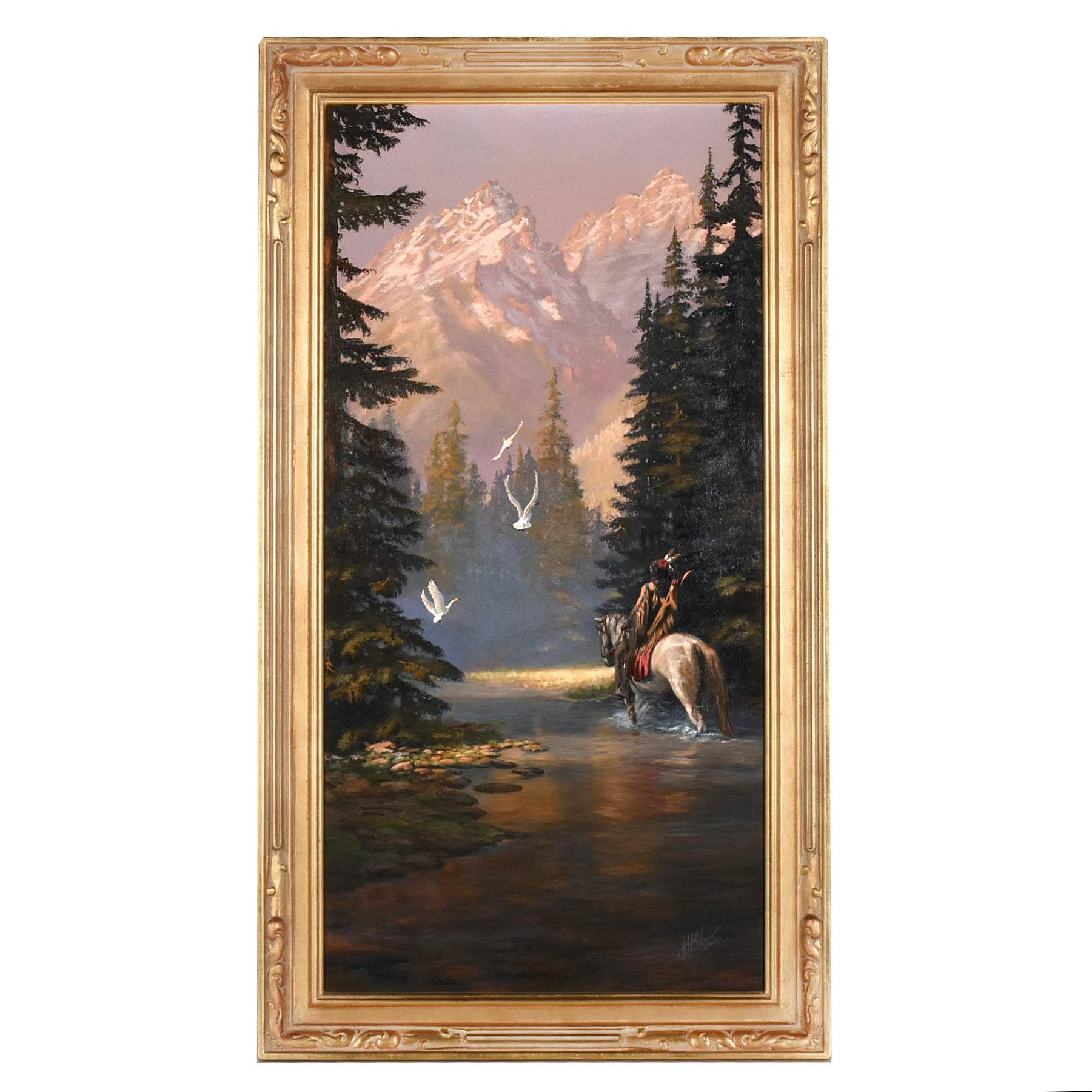 "Hermon Adams Monumental Oil Painting ""Teton Morning"""
