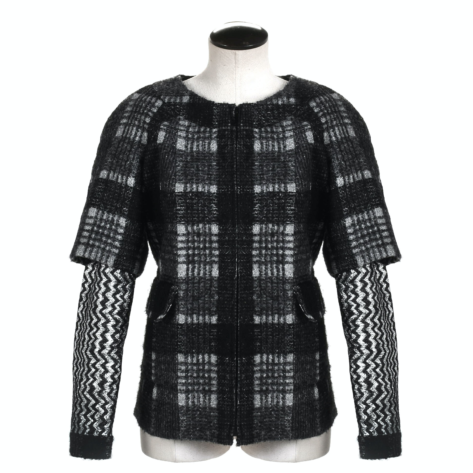 Chanel Black and Silver Metallic Tweed Jacket with Zigzag Sleeves, France