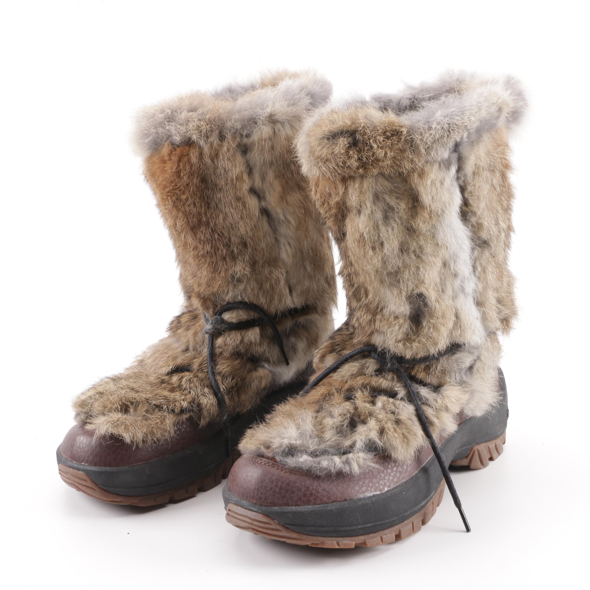 Women's Ulu Rabbit Fur Trim and Brown Leather Winter Boots
