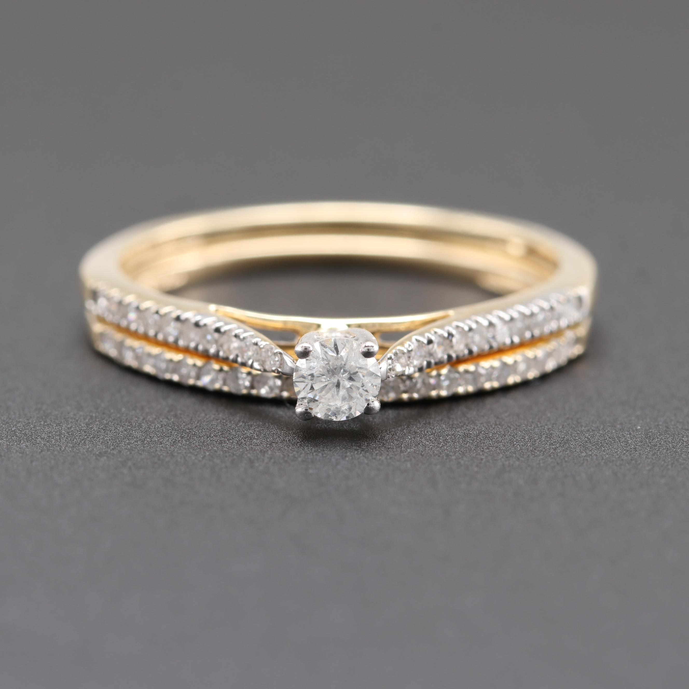 10K and 14K Yellow Gold Diamond Ring Set