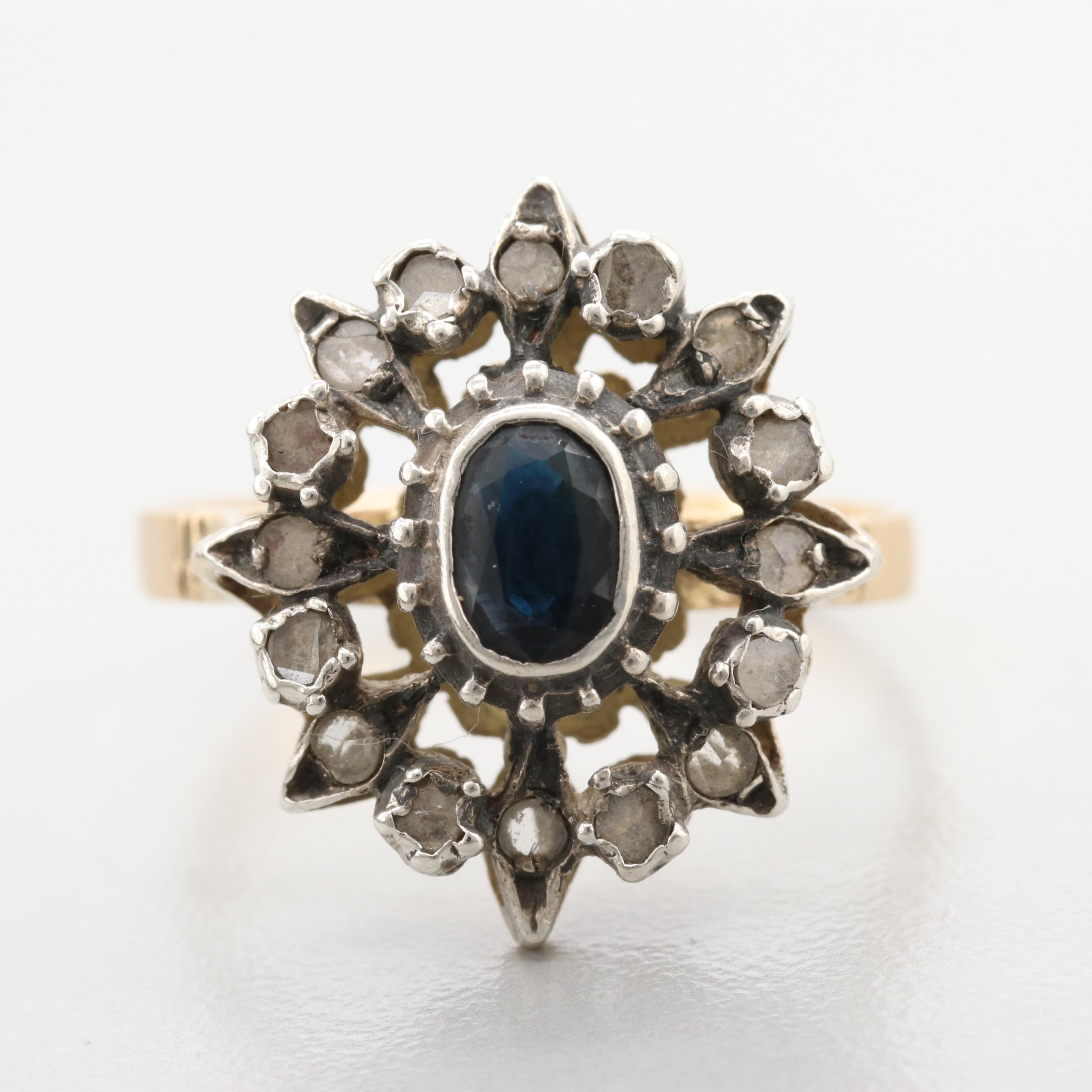 Vintage 18K Yellow Gold and Sterling Blue Sapphire and Diamond Ring