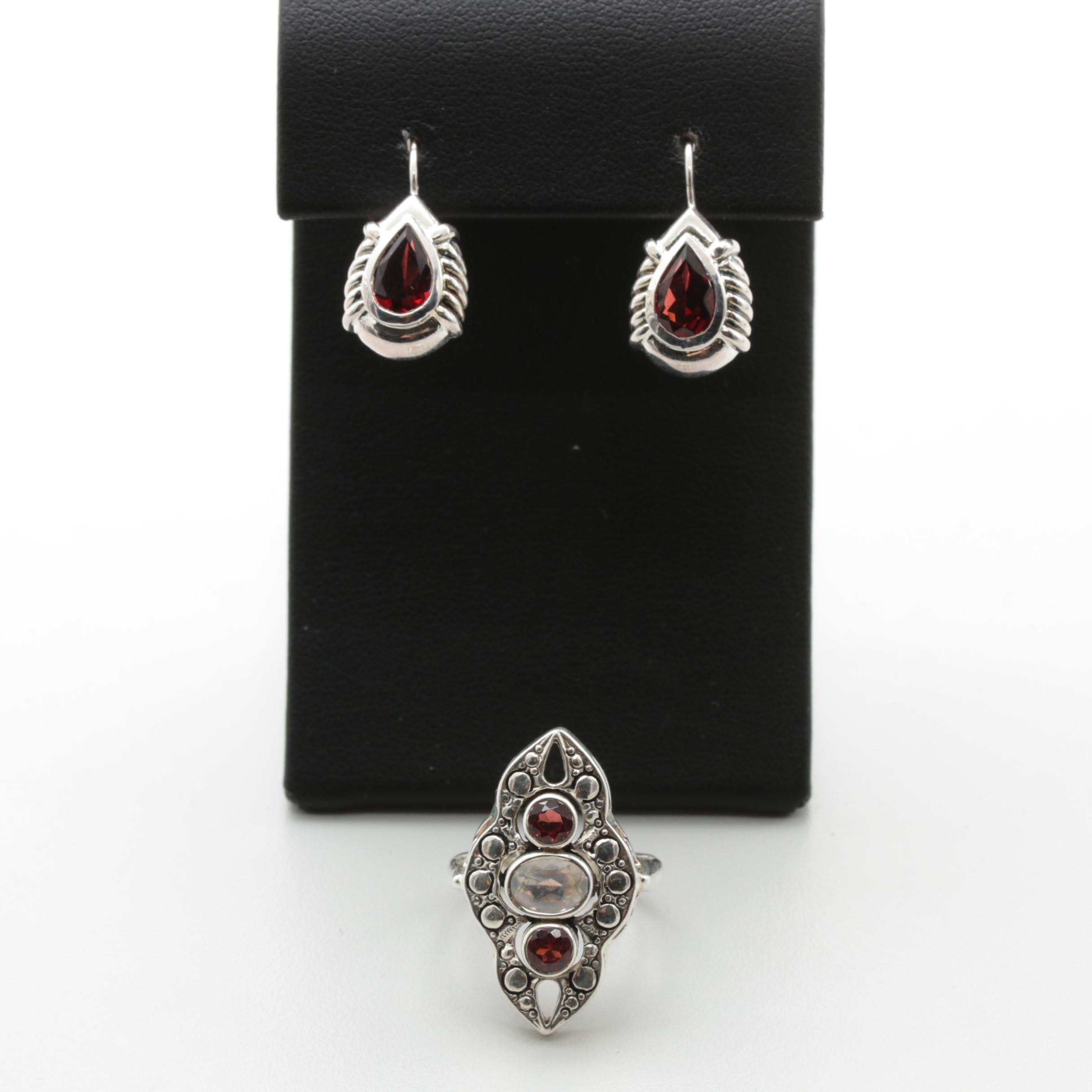 Sterling Silver Garnet and Cubic Zirconia Earrings and Ring