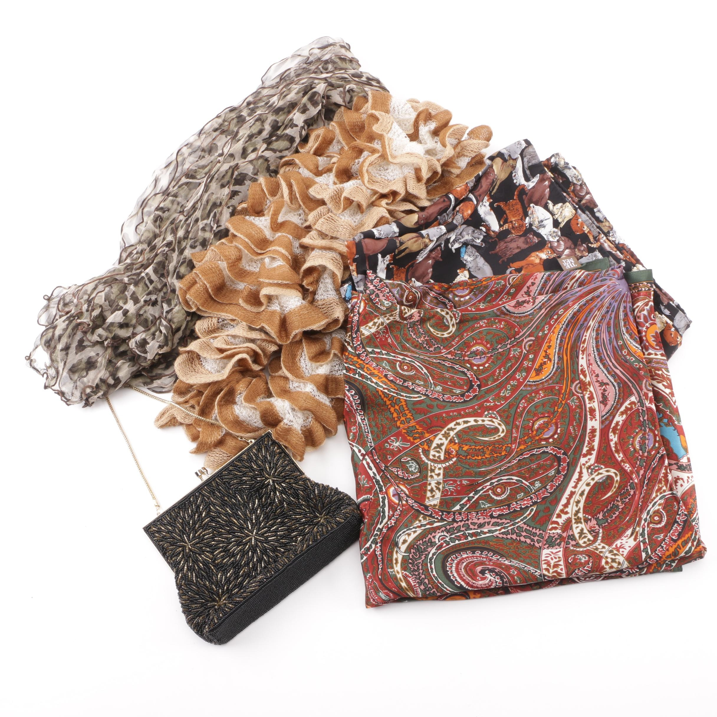Women's Printed and Knit Scarves with Magid Beaded Handbag