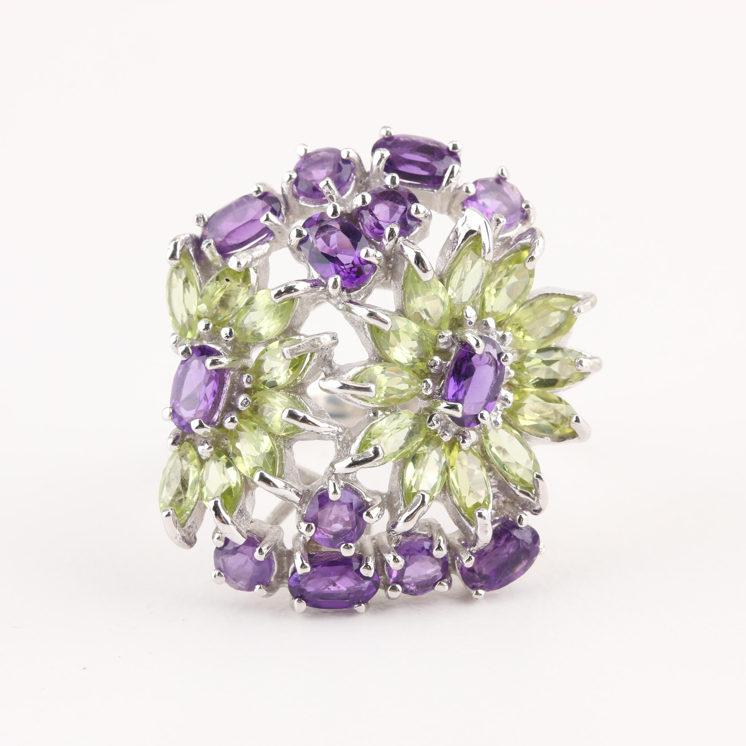 Sterling Silver Amethyst and Quartz Floral Motif Ring