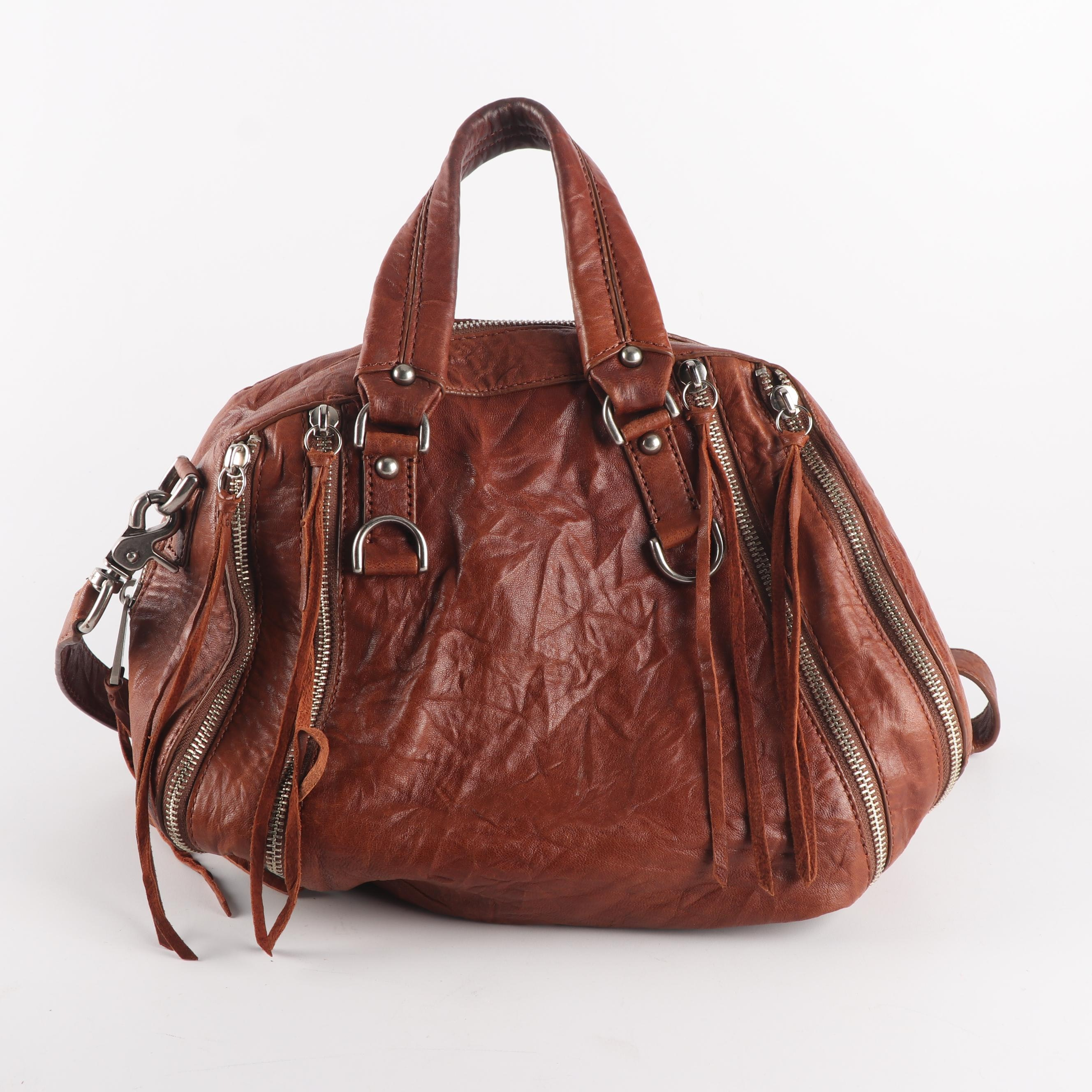 Botkier Distressed Brown Leather Convertible Satchel Bag