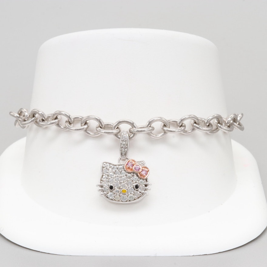 9b9abe592 Hello Kitty Sterling Silver Synthetic Sapphire and Enamel Toggle Charm  Bracelet ...