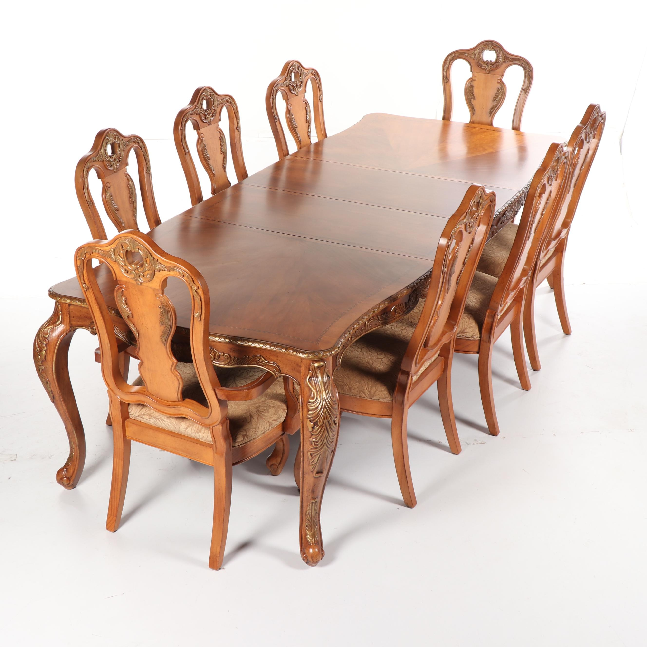 French Style Walnut Dining Table and Eight Chairs Set, 21st Century