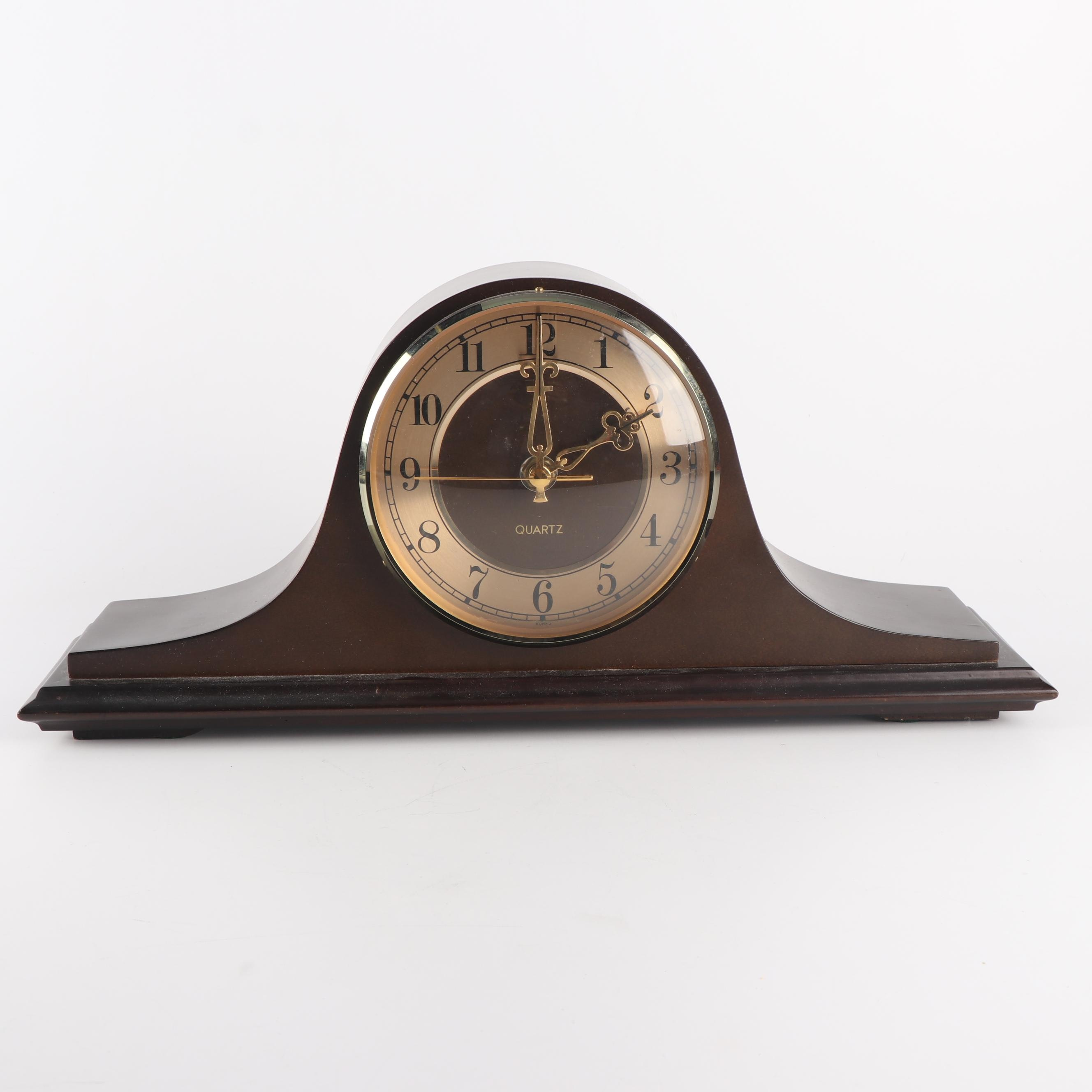 Quartz Mantel Clock with Wood Case and Speaker