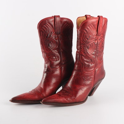 92f569eaa08e Women s Charley Horse by Lucchese International Dark Red Leather Western  Boots