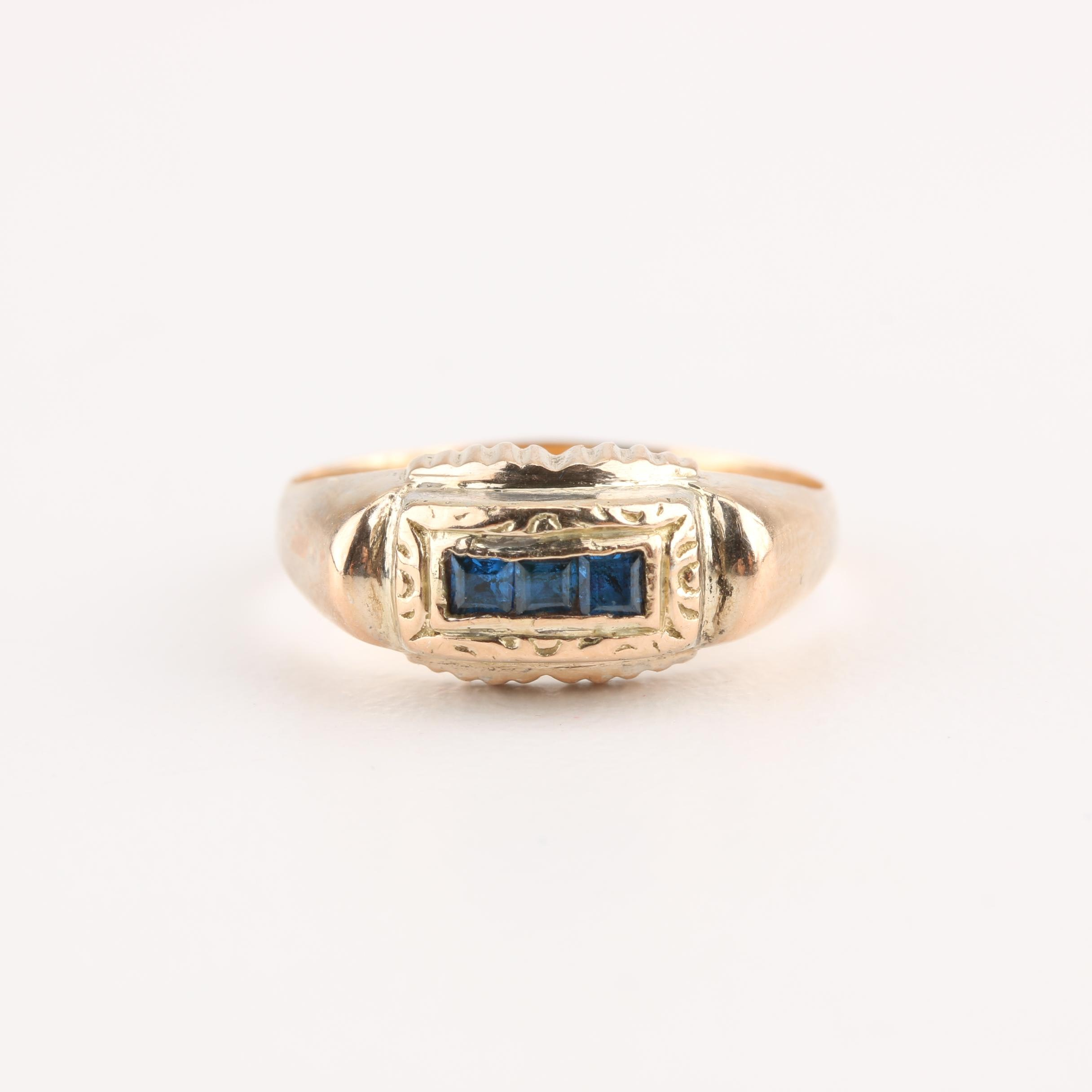 Art Deco 18K and 14K Yellow Gold Blue Topaz Ring