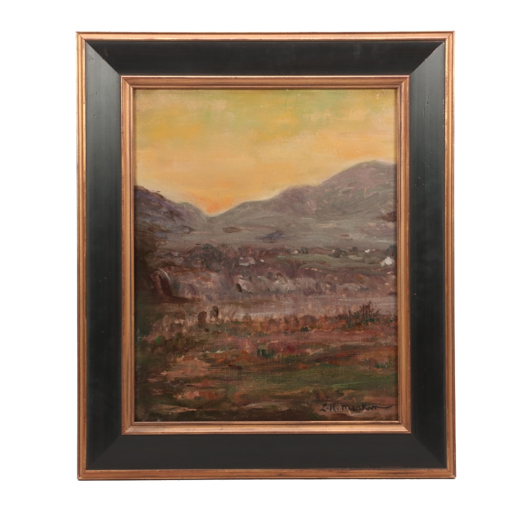 "Lewis Henry Meakin Oil Painting ""Landscape at Sunset"""