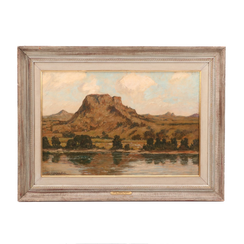 Lewis Henry Meakin American Landscape Oil Painting