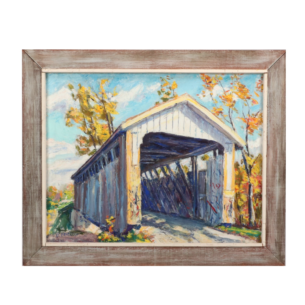 Emerson Burkhart 1967 Oil Painting of Covered Bridge