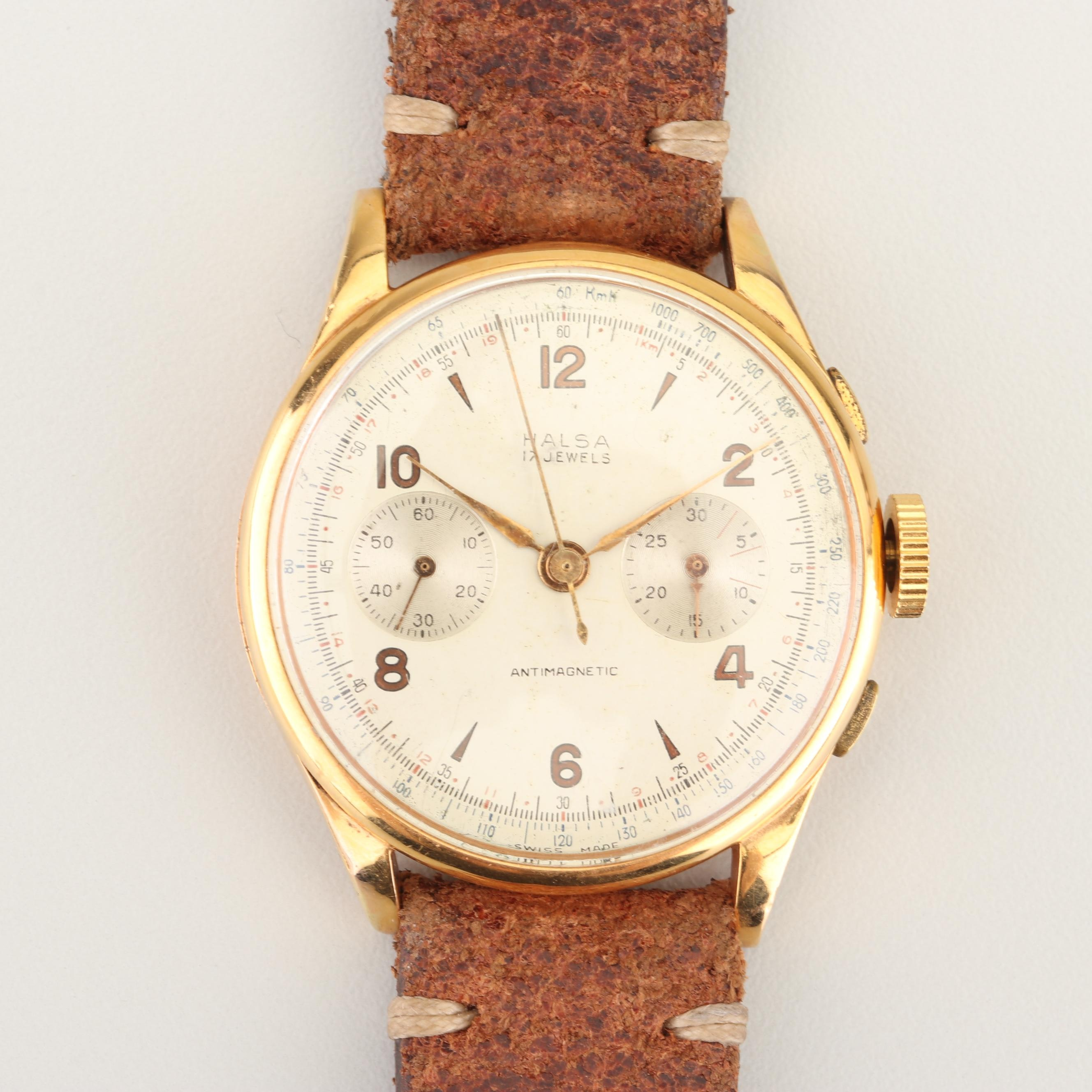 Vintage Halsa 18K Yellow Gold Wristwatch