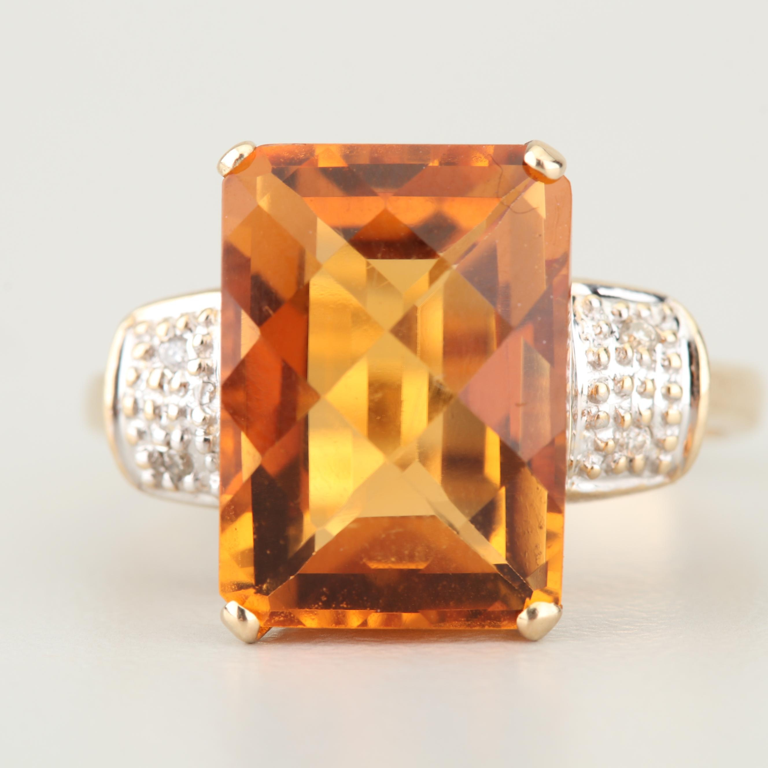 14K Yellow and White Gold 7.05 CT Citrine and Diamond Ring