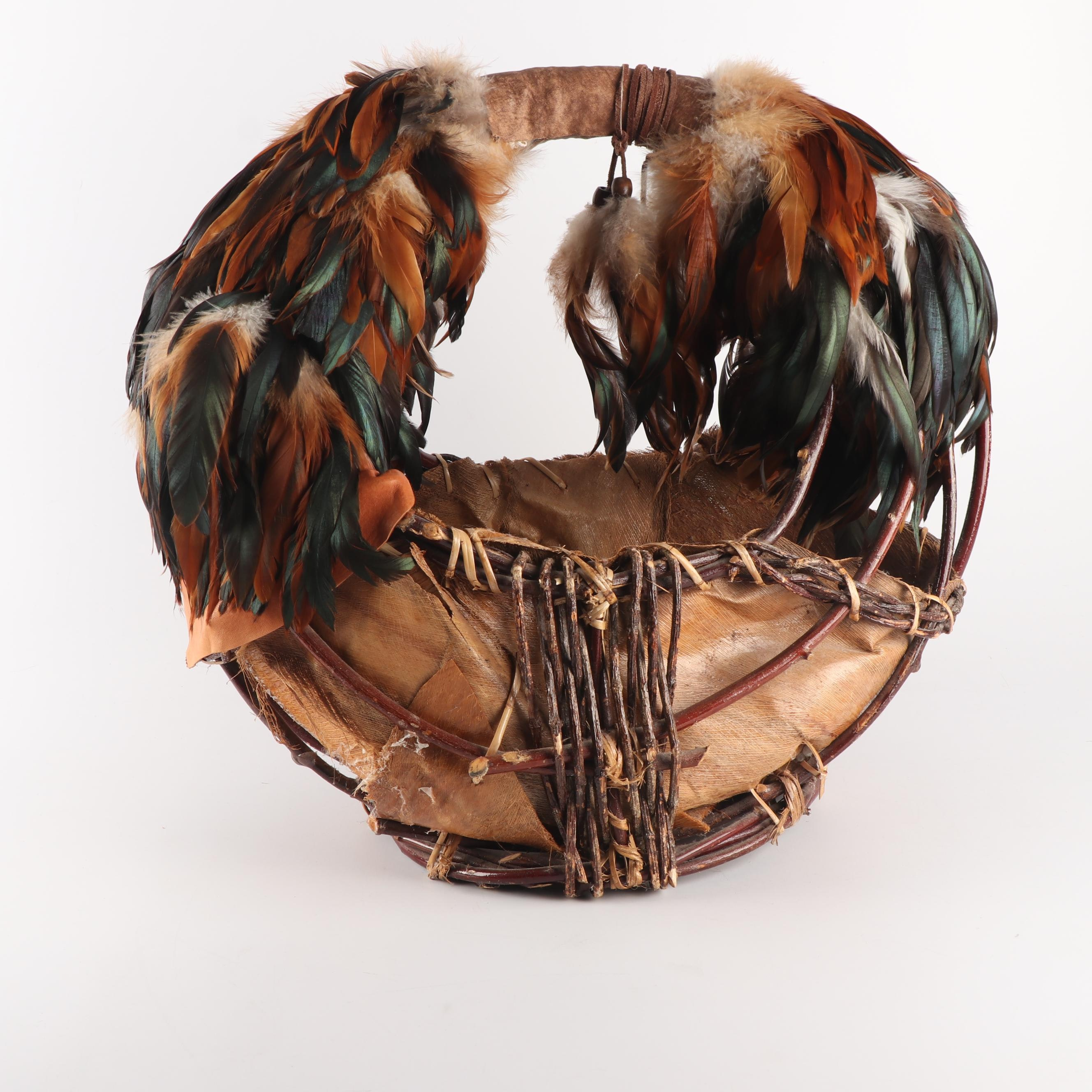 Plains Style Handmade Husk Basket with Leather and Feathers
