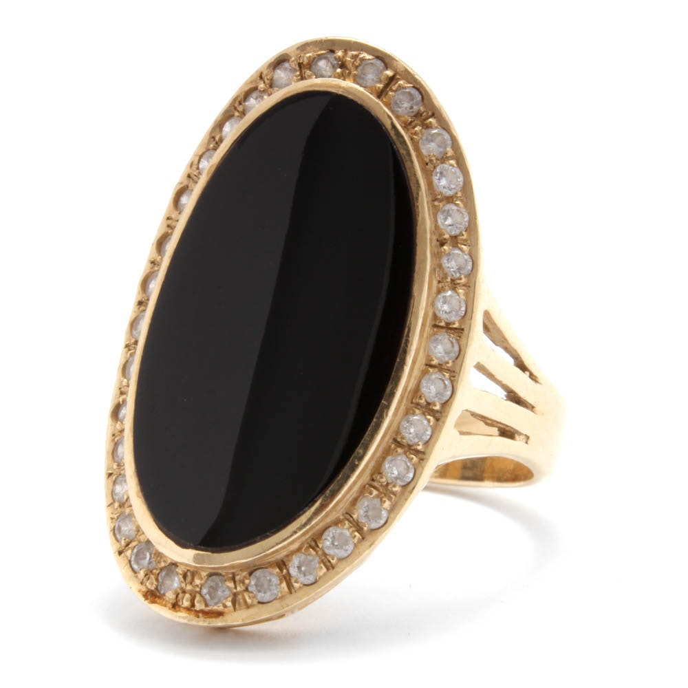 14K Yellow Gold Onyx and Cubic Zirconia Statement Ring