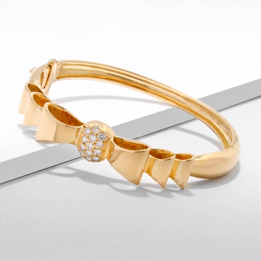 18K Yellow Gold and Diamond Hinged Bangle Bracelet