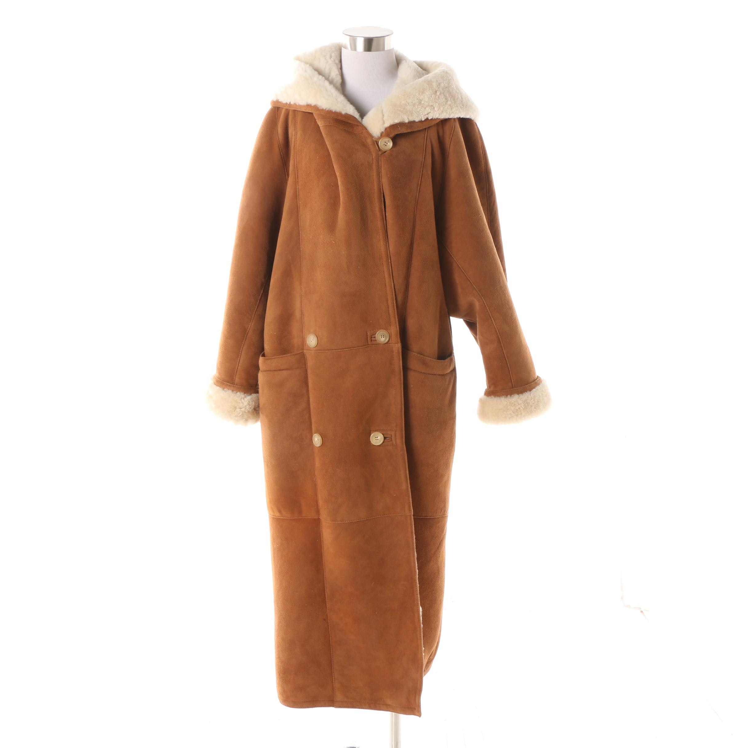 Women's Vintage Sawyer of Napa Suede and Shearling Double-Breasted Hooded Coat