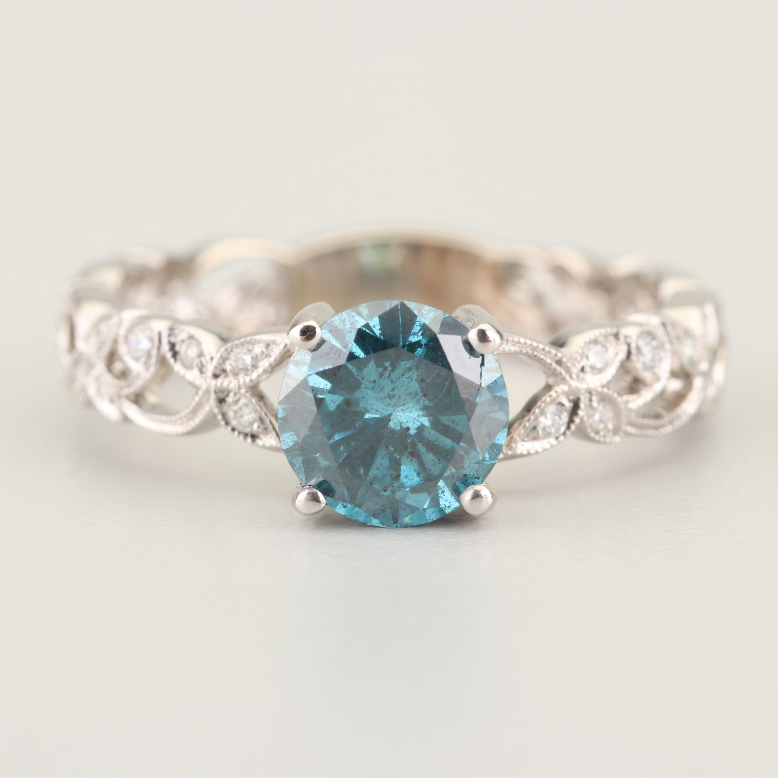 14K White Gold 1.05 CT Blue Diamond and Diamond Ring