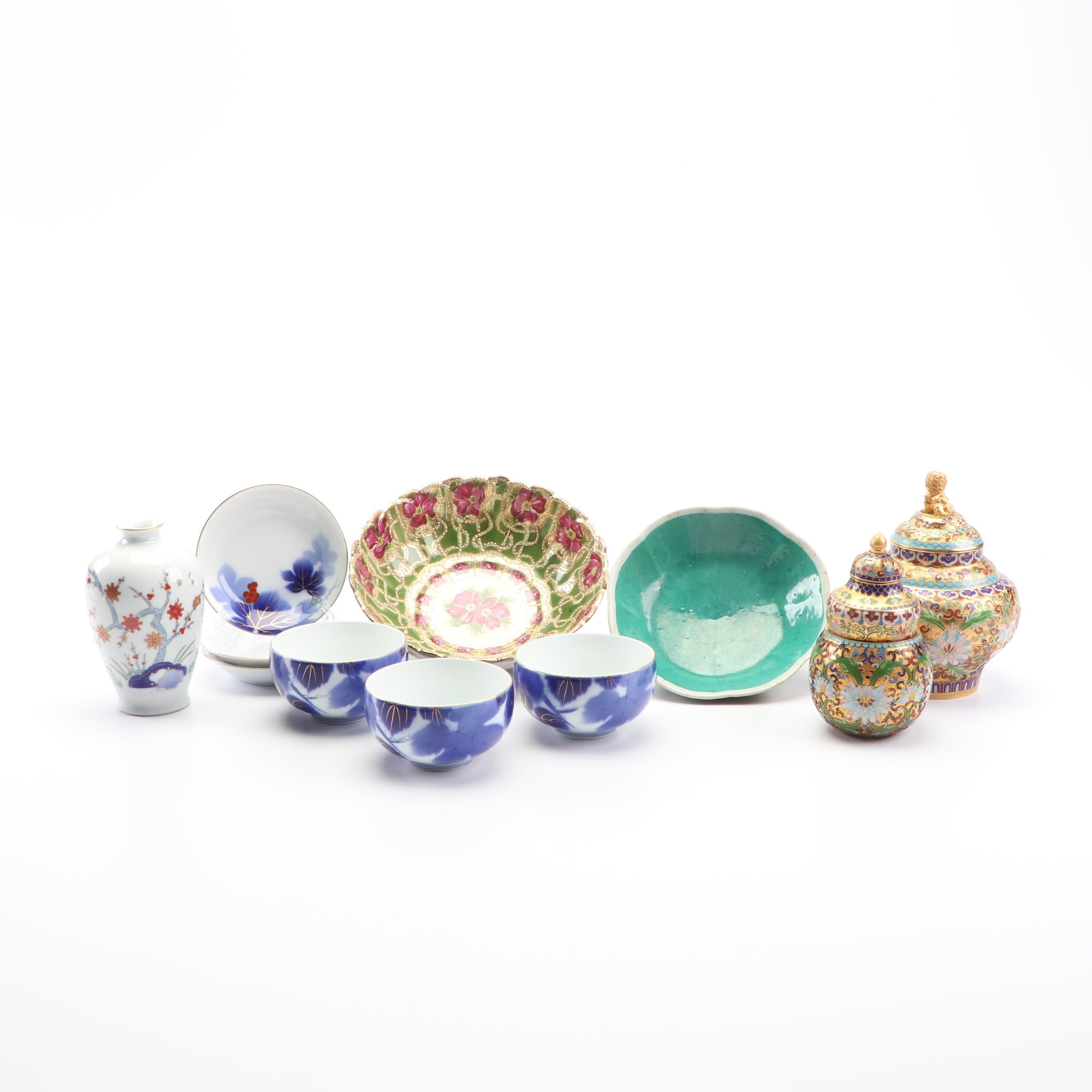 Chinese and Japanese Tableware with Cloisonné Jars