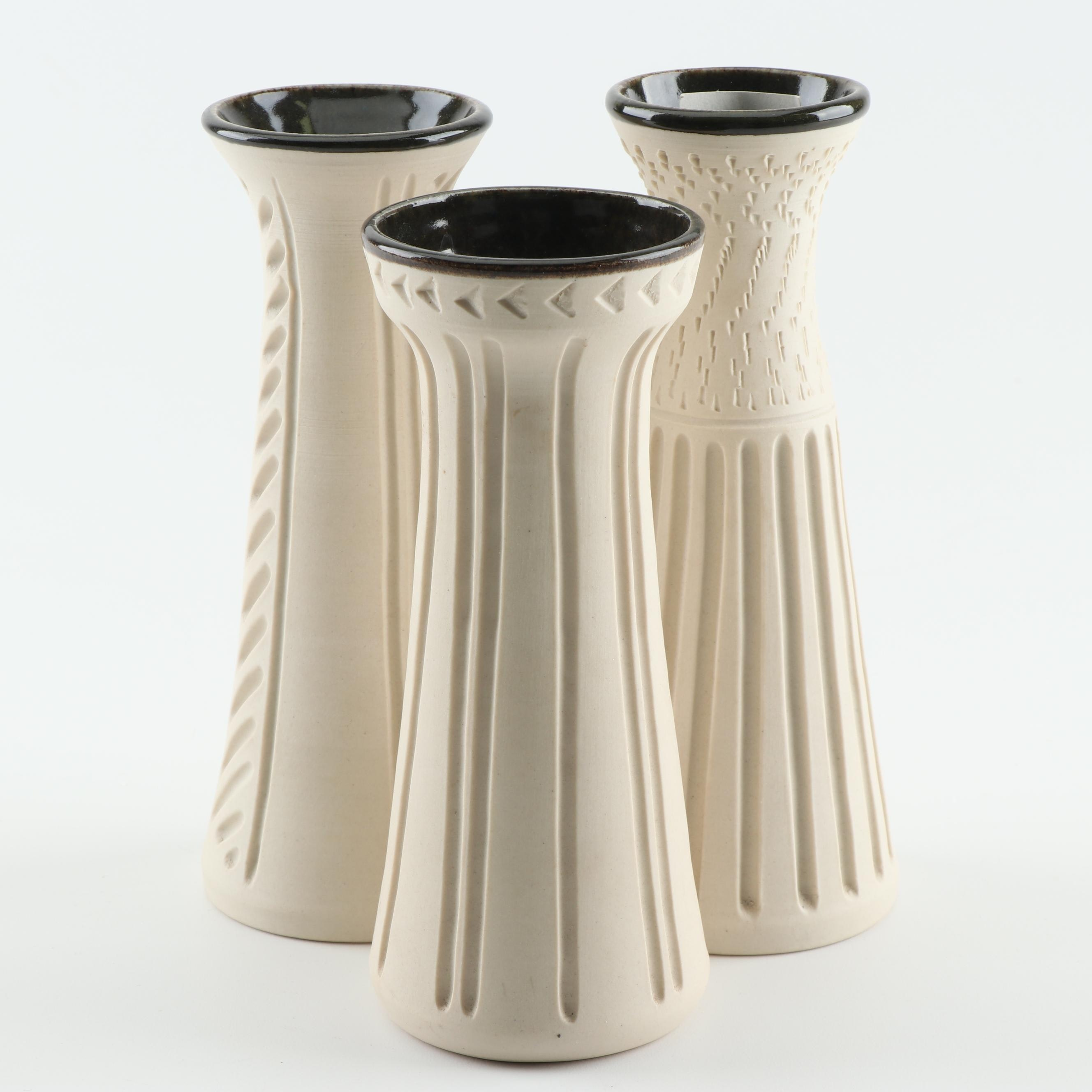 Nancy Smith Thrown and Carved Porcelain Vases