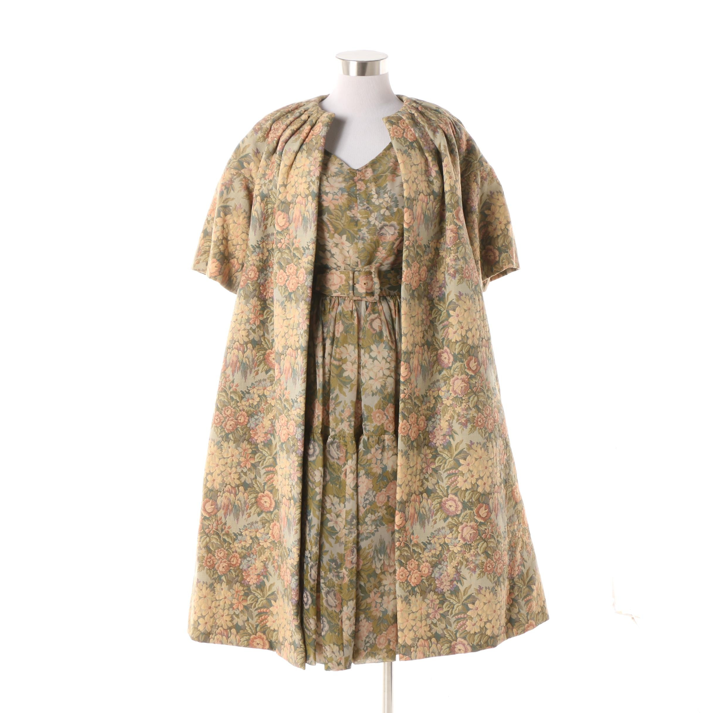 1960s Saks Fifth Avenue Floral Sleeveless Dress with Brocade Swing Overcoat