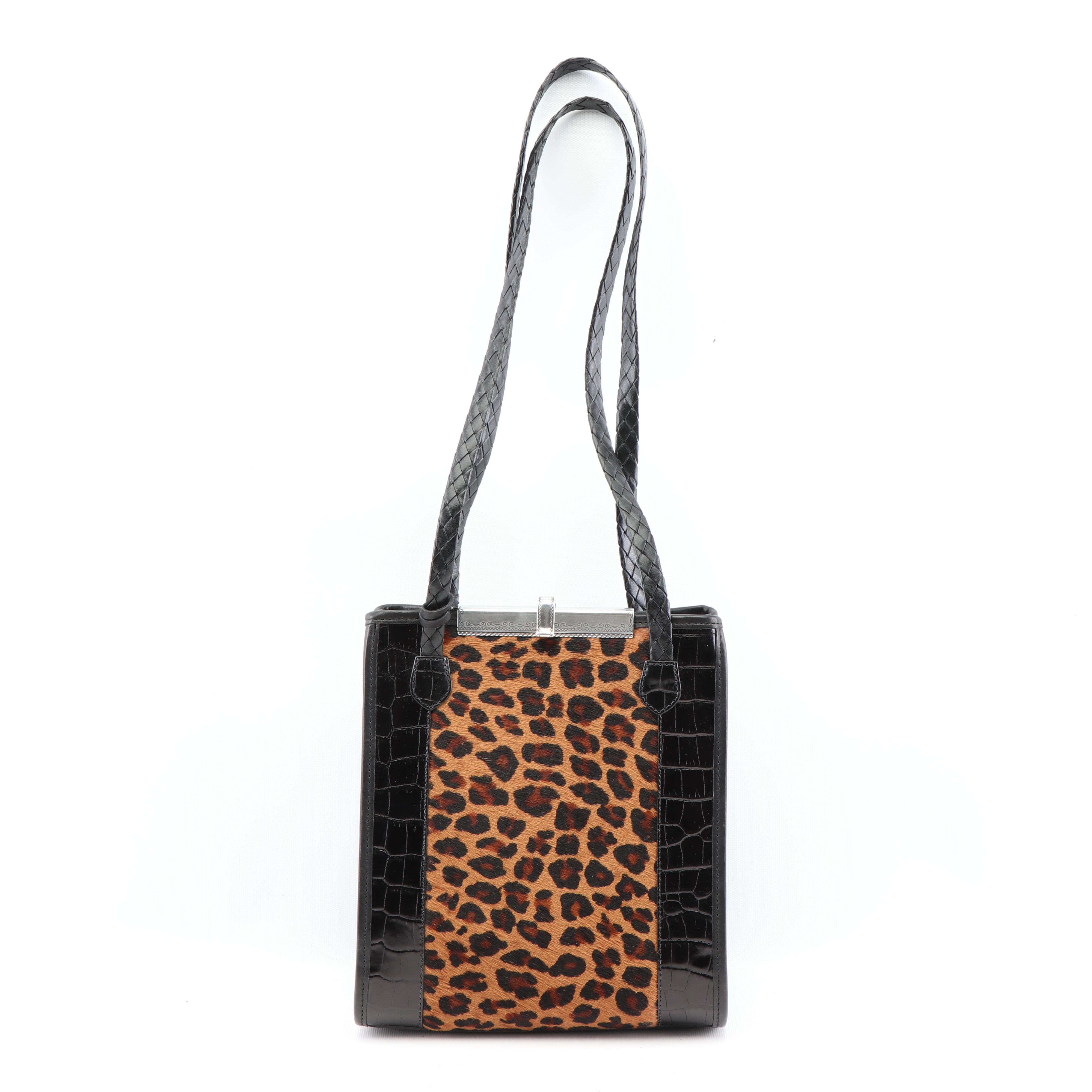 Brighton Betty Loop Embossed Leather and Dyed Calf Hair Shoulder Bag