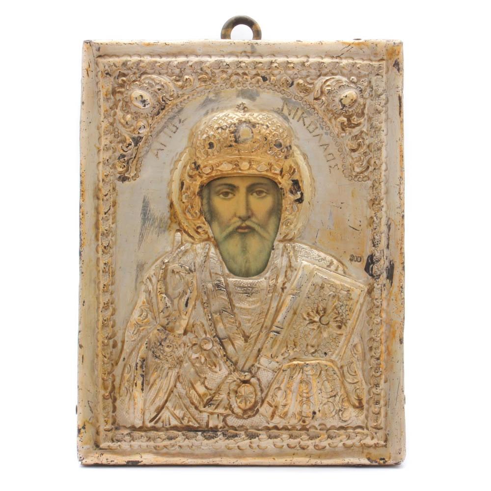 Greek Orthodox Saint Nicholas Icon With 800 Silver Riza