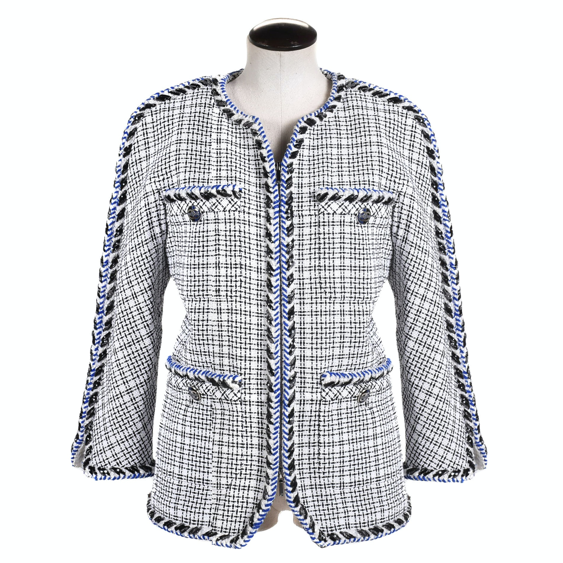 Women's Chanel Black and White Tweed Jacket with Blue Braided Trim