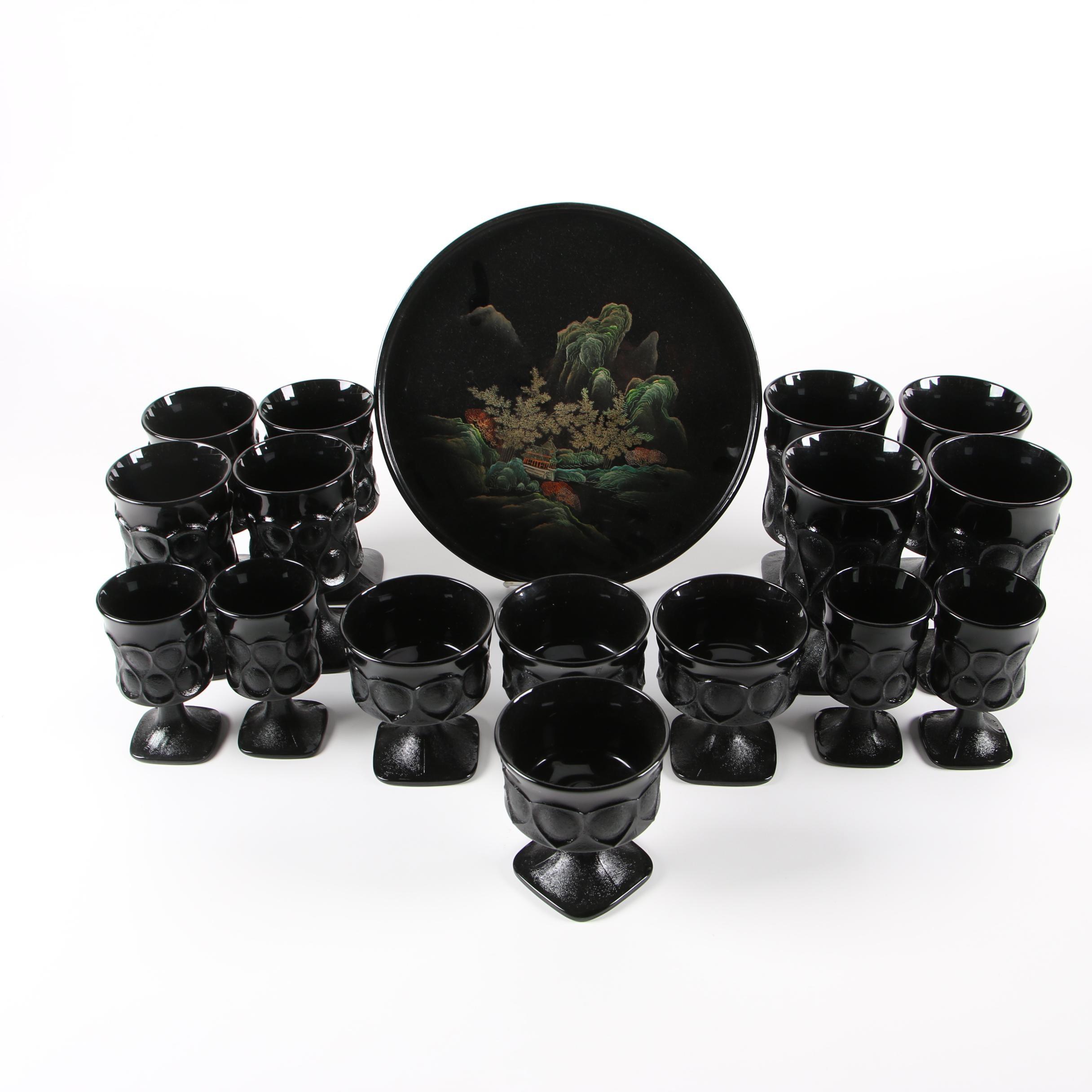 "Noritake ""Spotlight"" Glass Stemware with East Asian Style Tray"